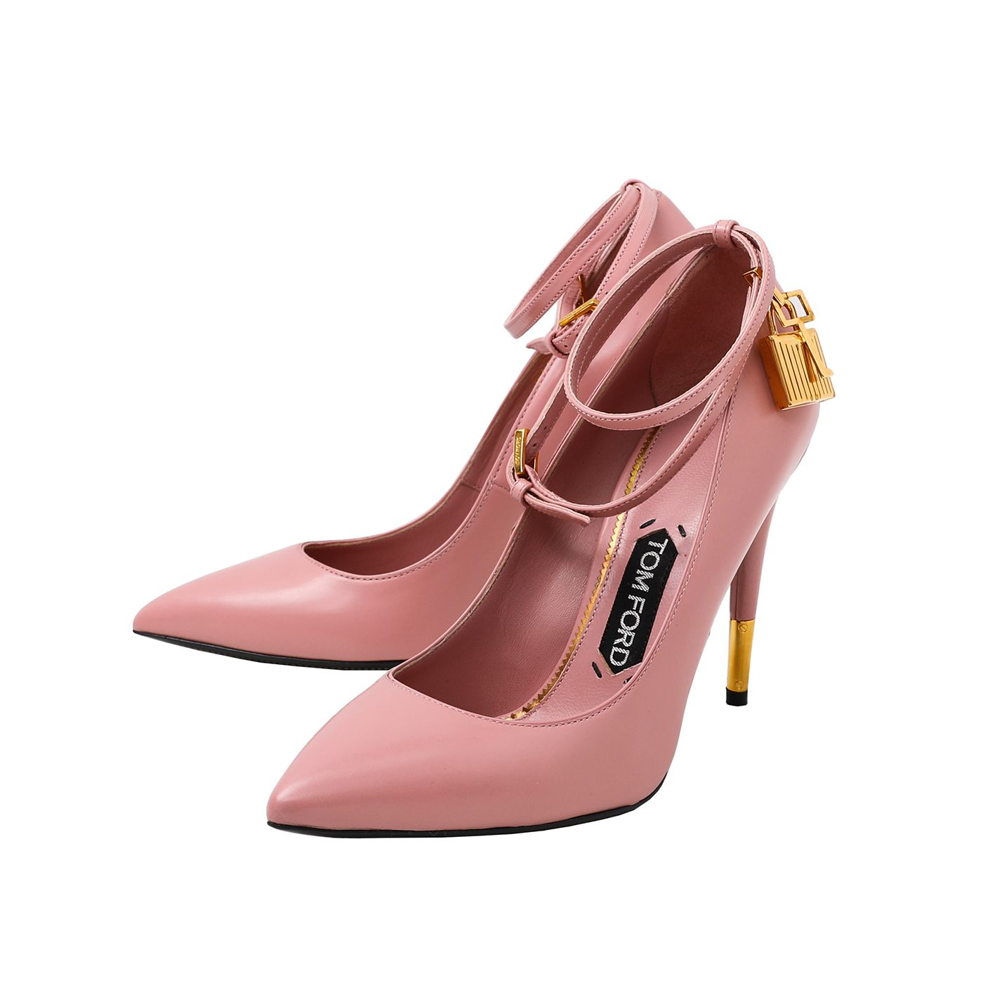 Tom Ford Soft Pink Ankle Strap Padlock Pump 38
