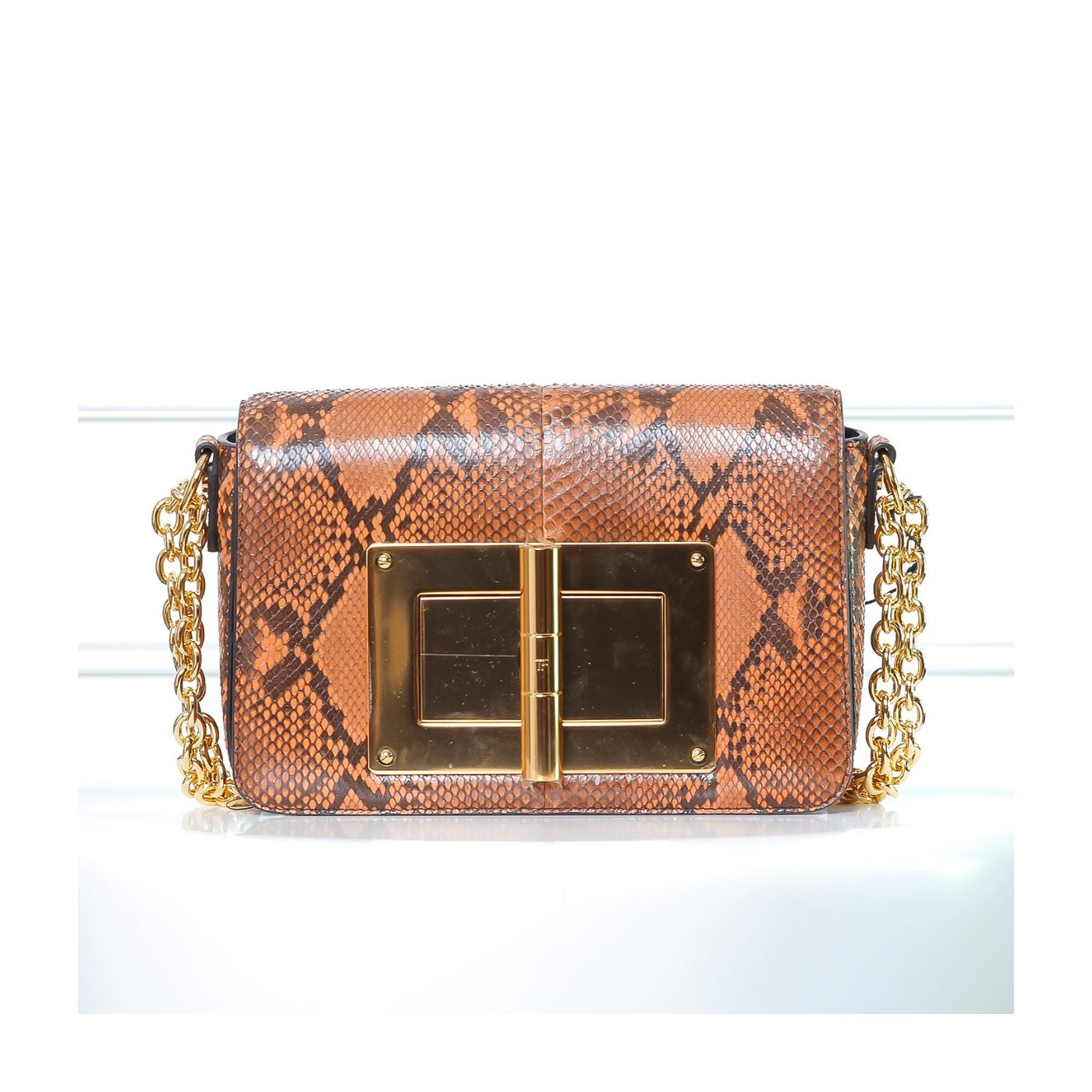 Tom Ford Dark Orange Python Natalia Flap Bag