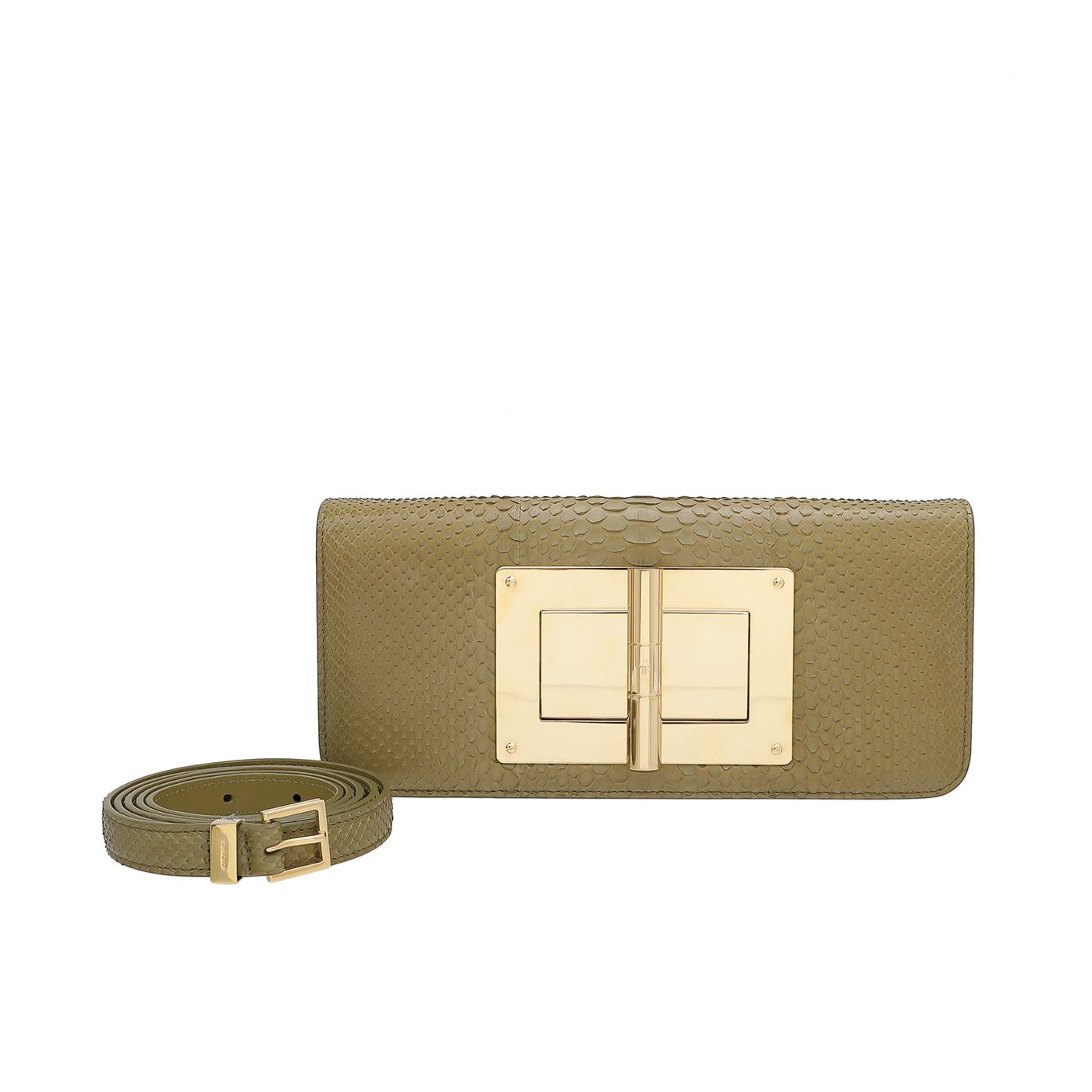 Tom Ford Olive Green Python Natalia Convertible Clutch