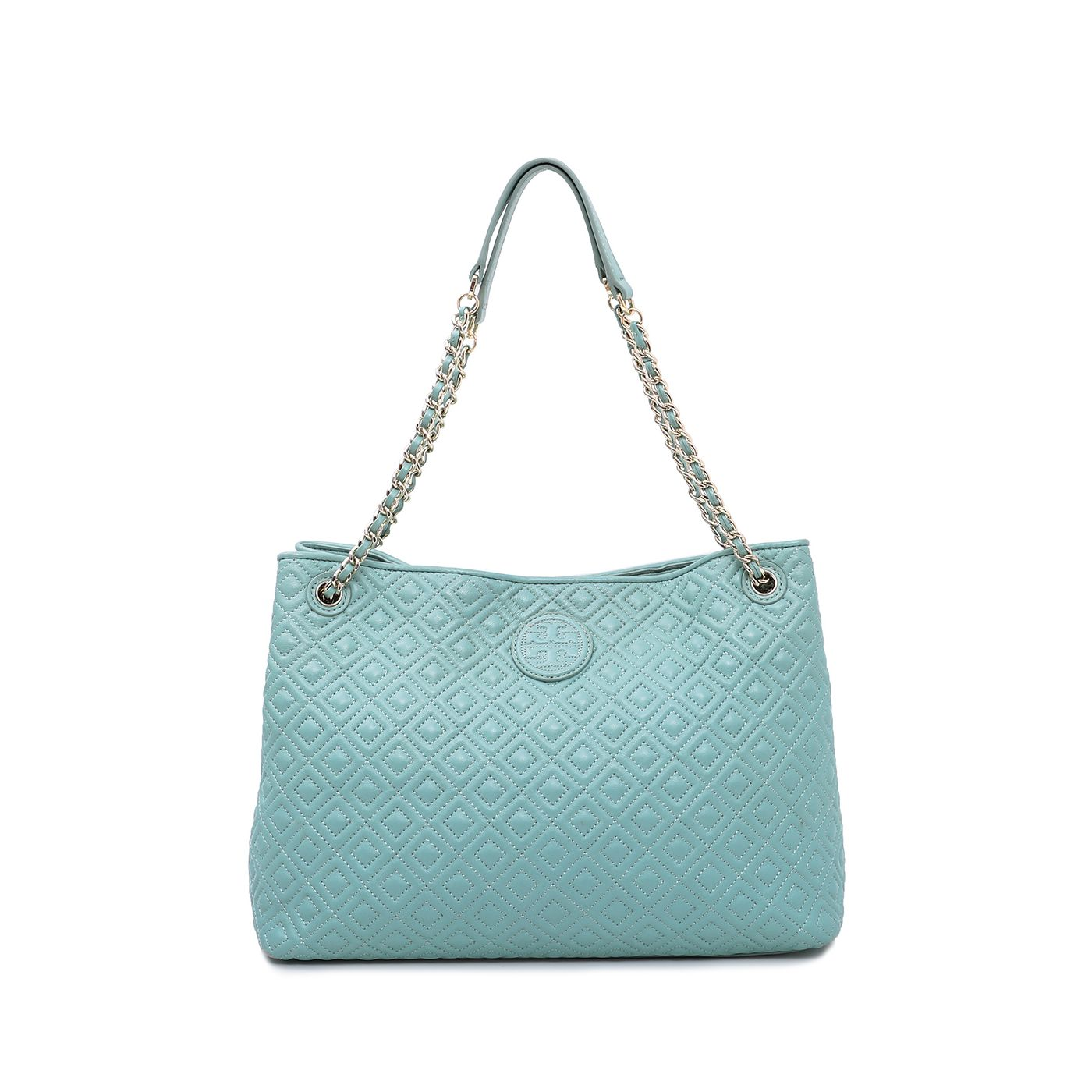 Tory Burch Mint Green Marion Shopping Tote Bag