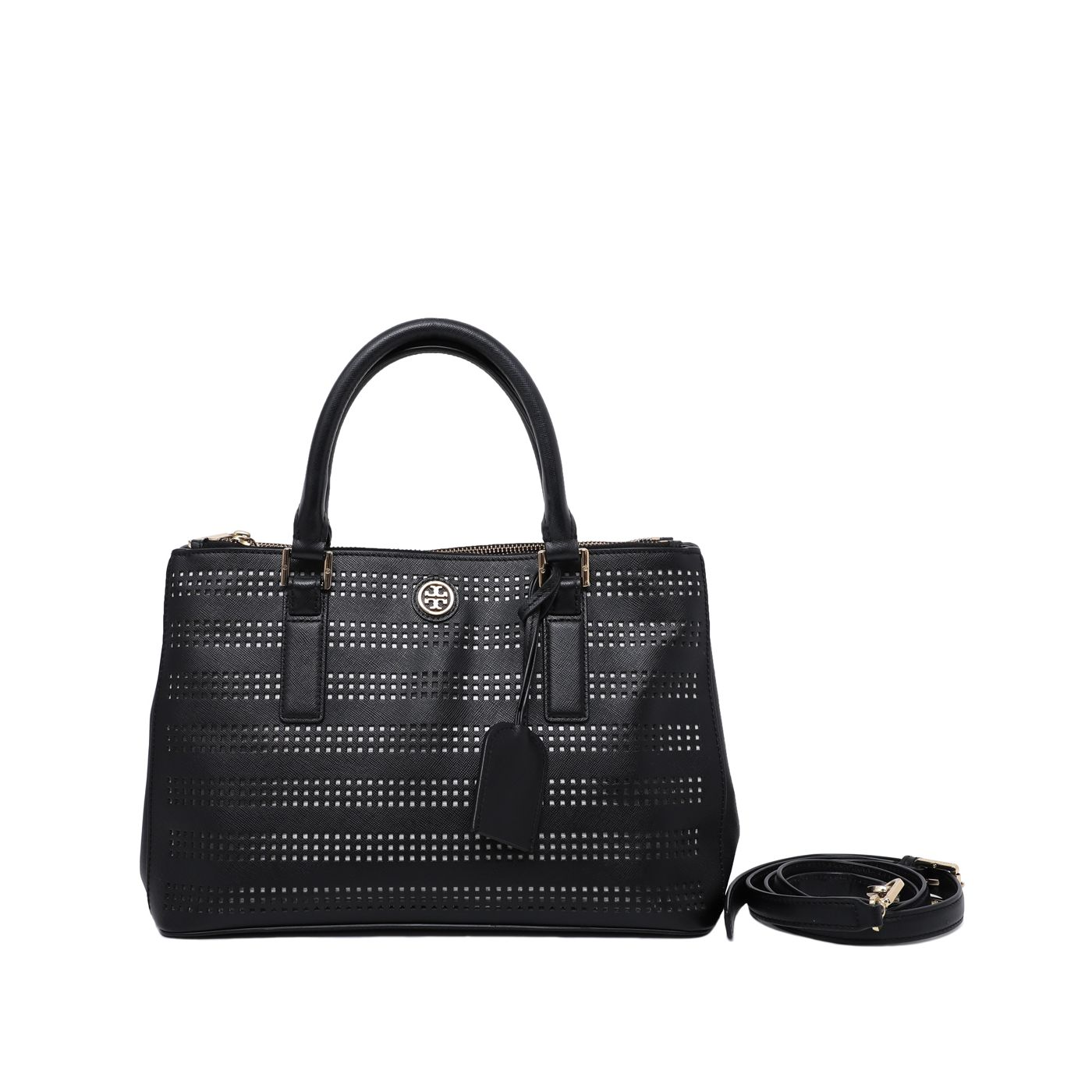Tory burch robinson perforated double zip black