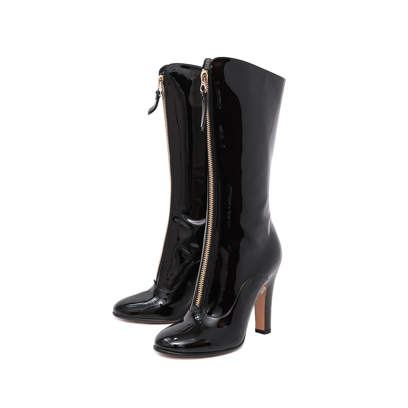 Valentino Black Front Zip Knee High Boots 38