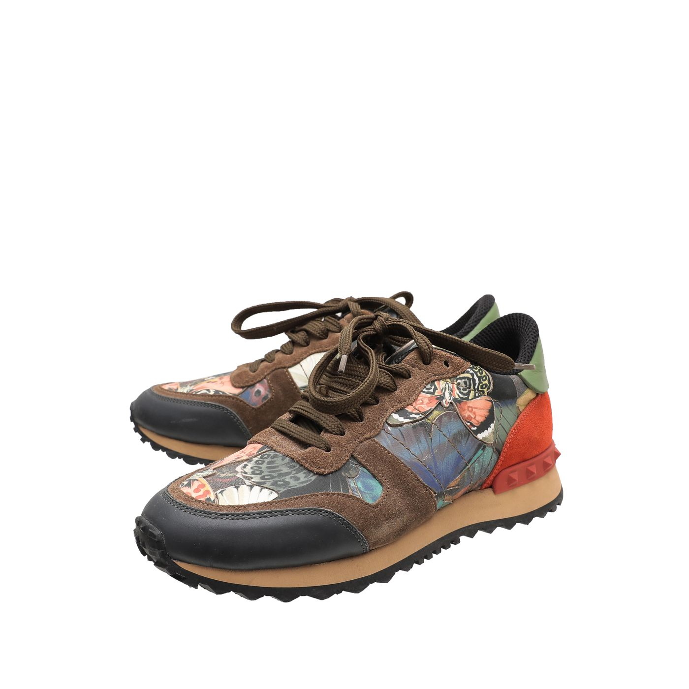 Valentino Multicolor Butterfly Camouflage Rockstud Sneakers 36