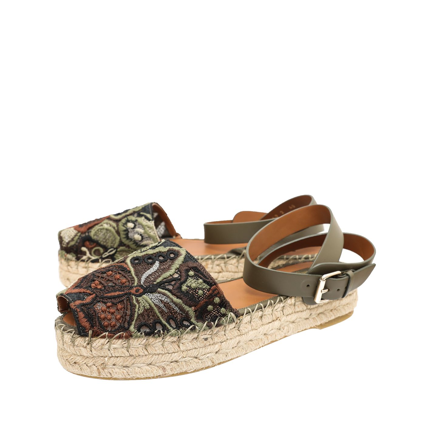 Valentino army green camu butterfly lace ankle strap espadrille army green
