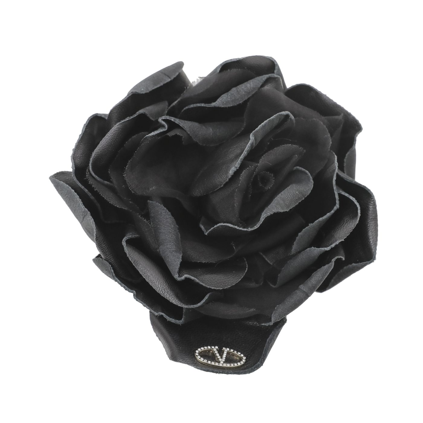 Valentino Black Crystal Logo Flower Brooch