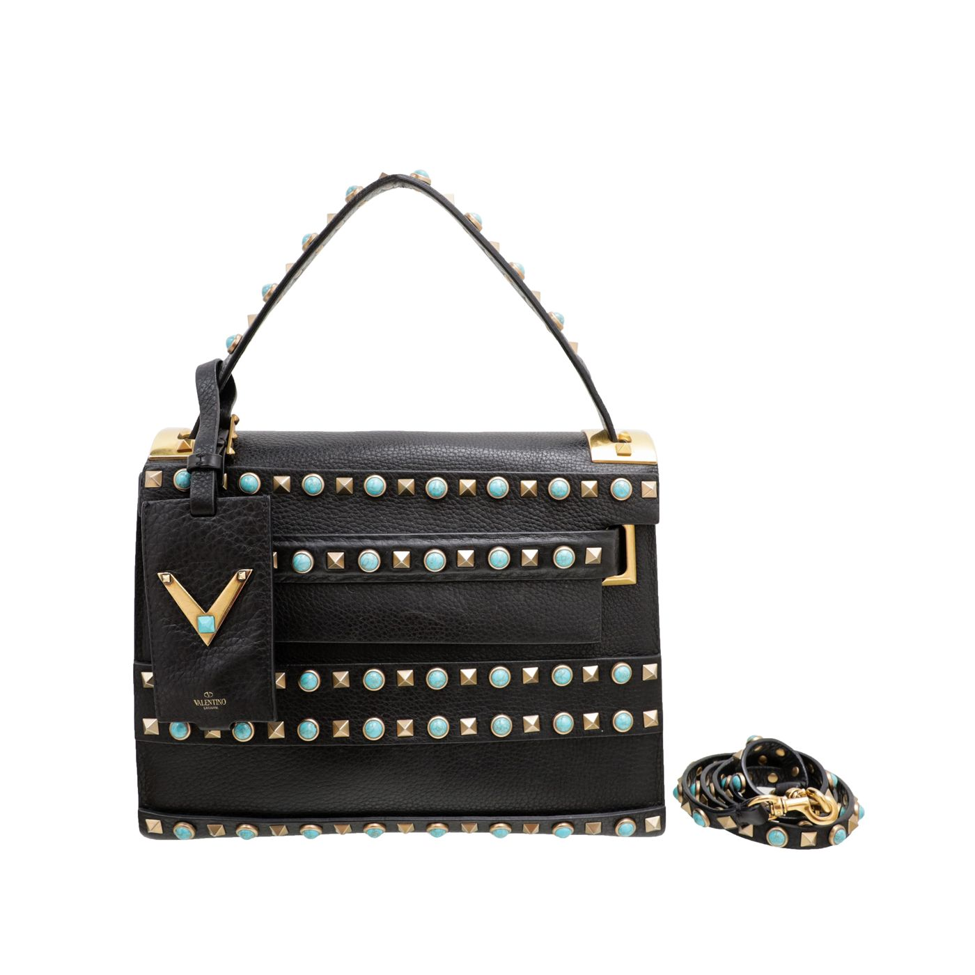 Valentino Black My Rockstud Rolling Single Handle Bag