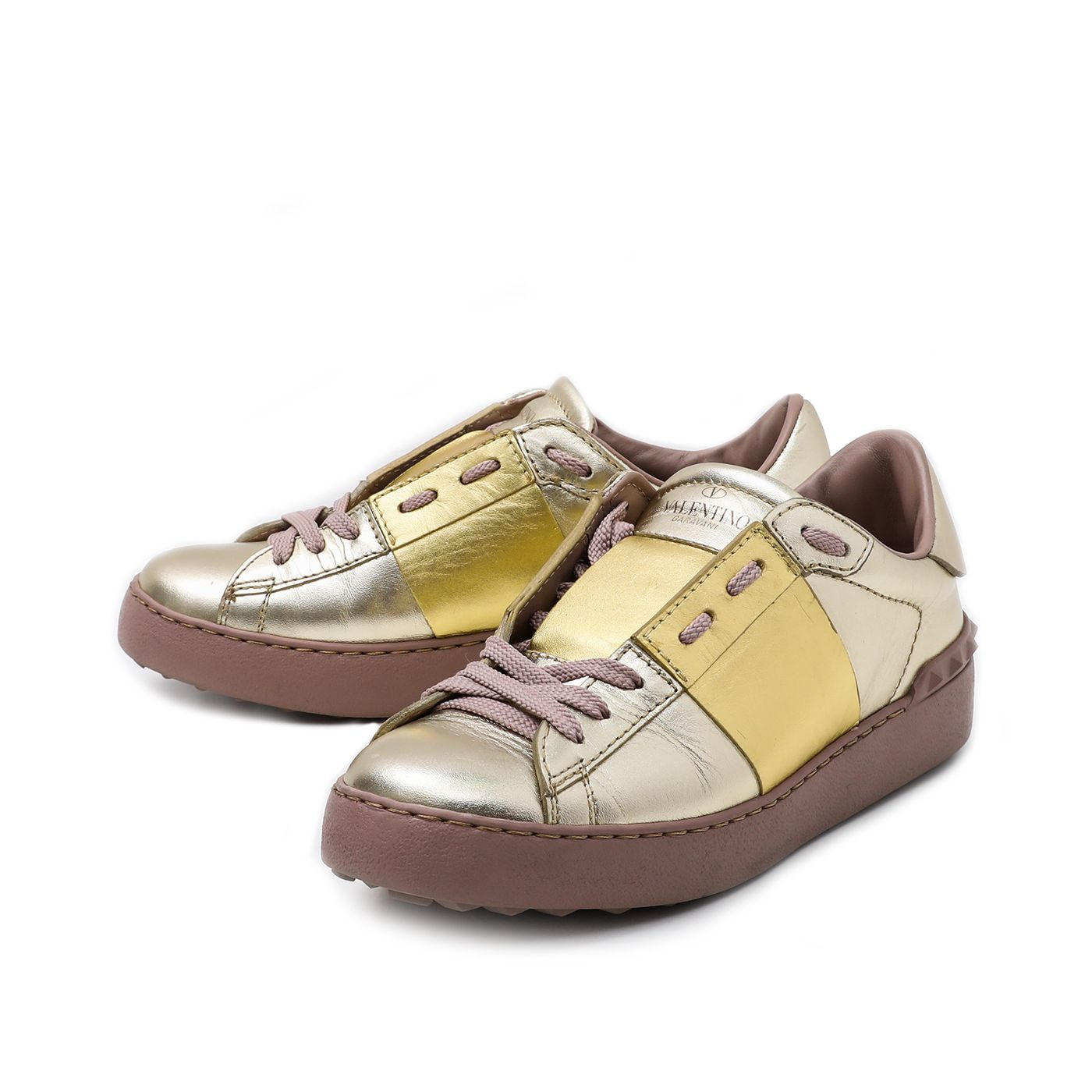 Valentino Gold Open with Metallic Stripe Sneakers 35