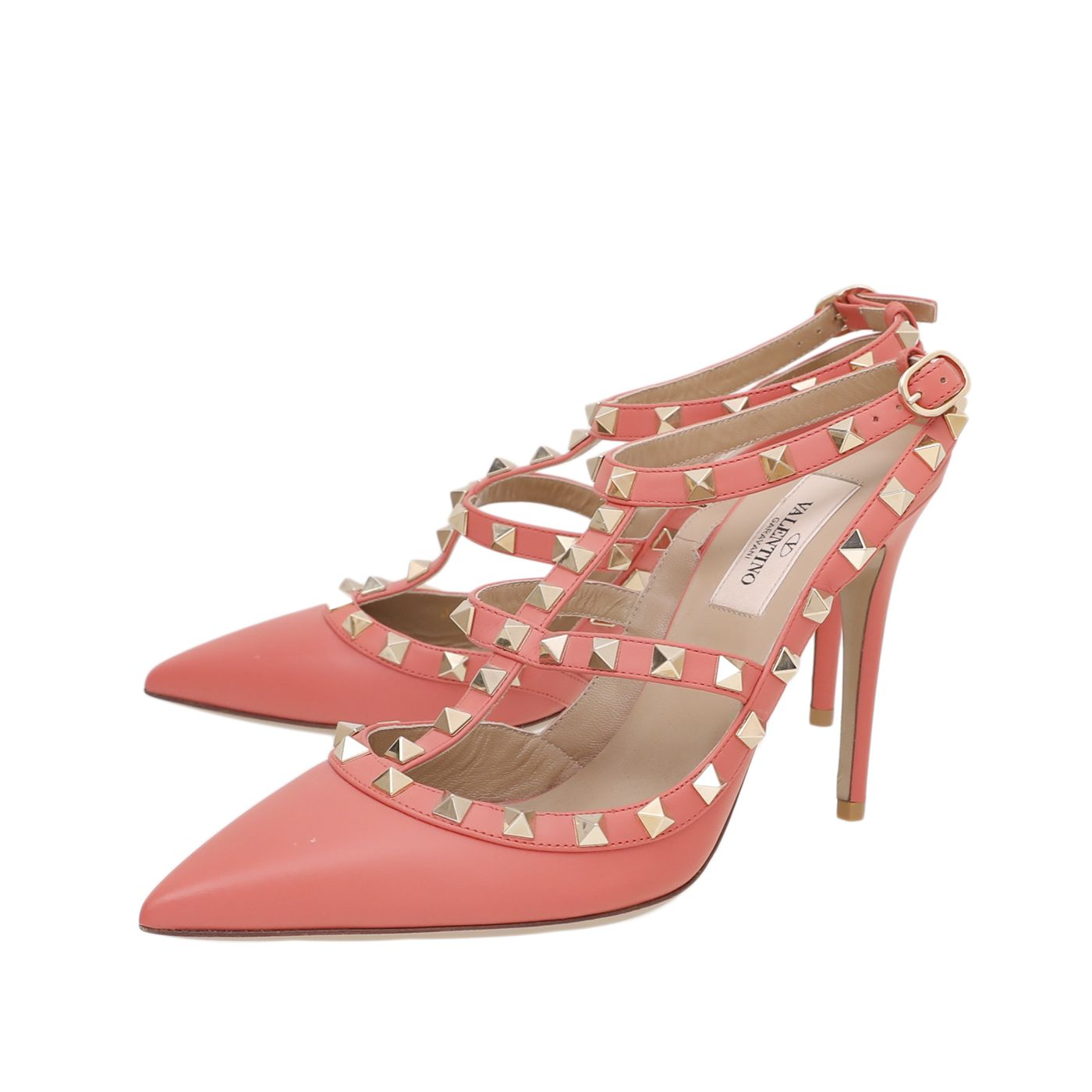 Valentino Deep Coral Rockstud Caged Ankle Strap 38
