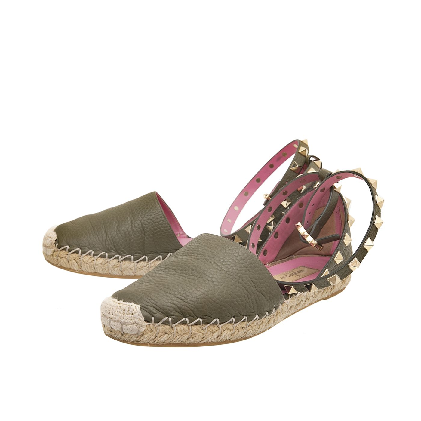Valentino Olive Green Rockstud Double Ankle Strap Espadrille Flats 35
