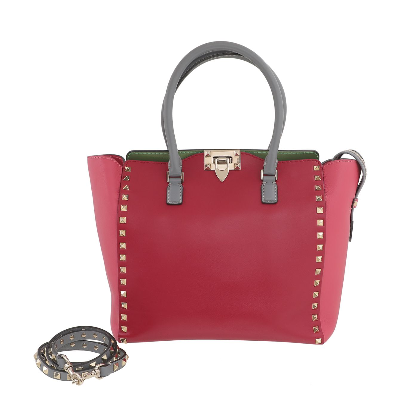 Valentino Multicolor Rockstud Double Handle Medium Tote Bag