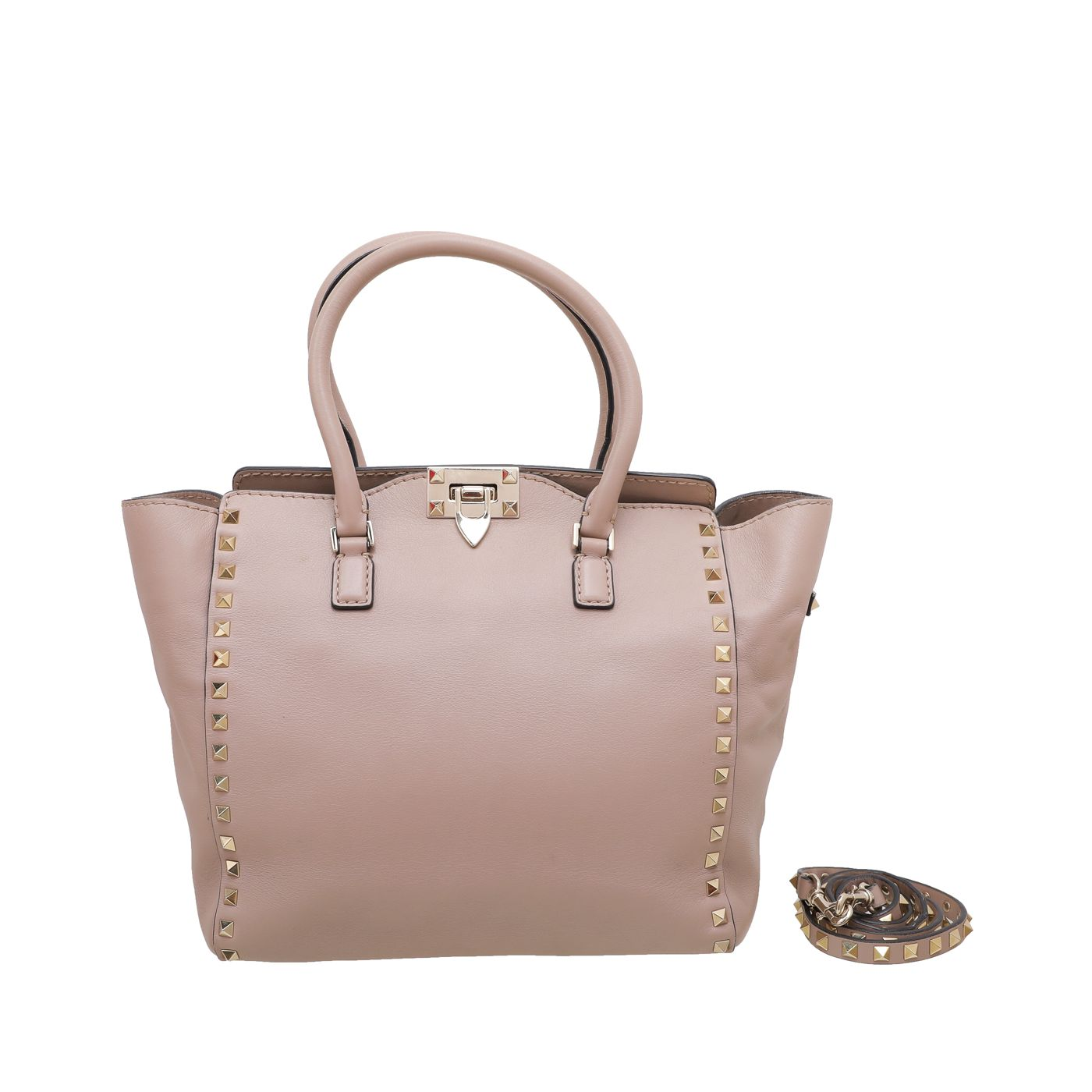 Valentino Nude Rockstud Double Handle Tote Bag