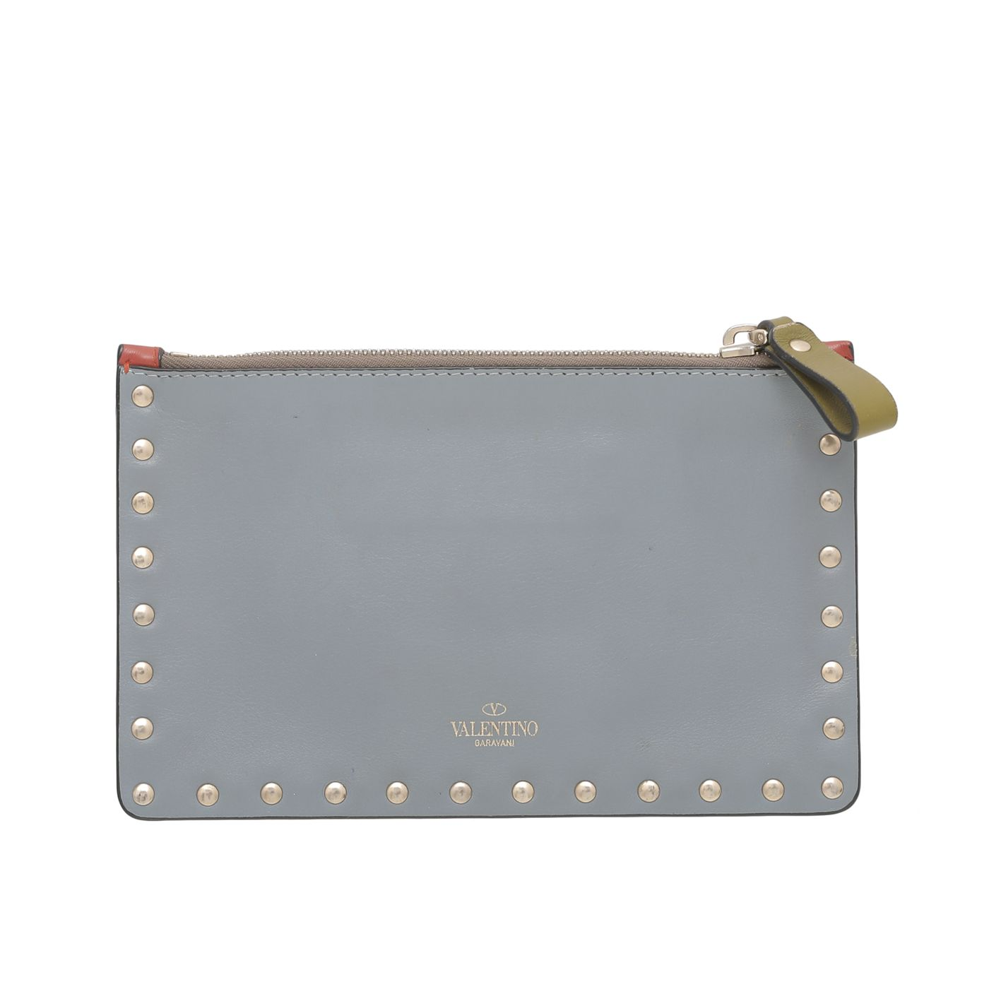 Valentino Tricolor Rockstud Flat Zipped Pouch