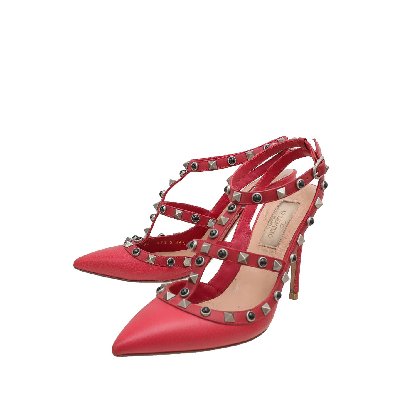 Valentino Red Rockstud Rolling Ankle Strap Pump 36.5