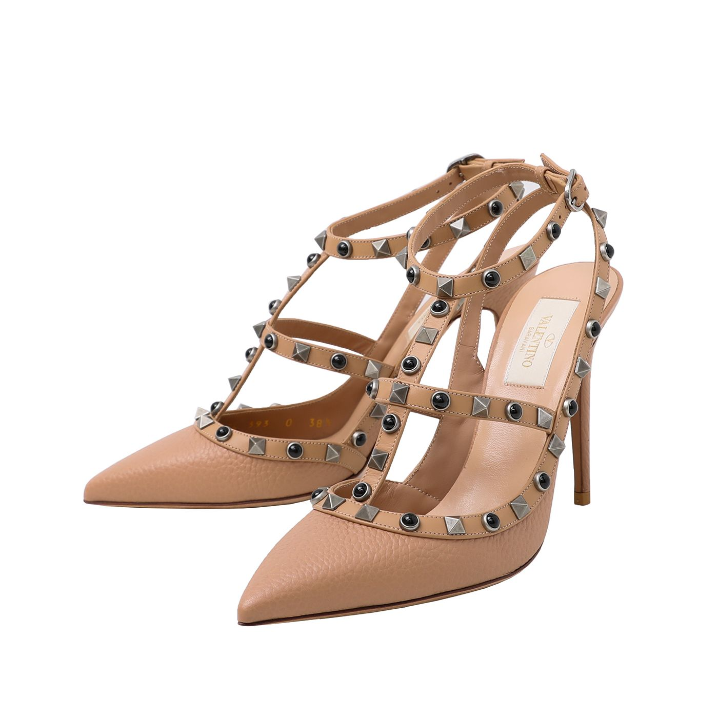 Valentino Dusty Pink Rockstud Rolling Ankle Strap Sand 38.5