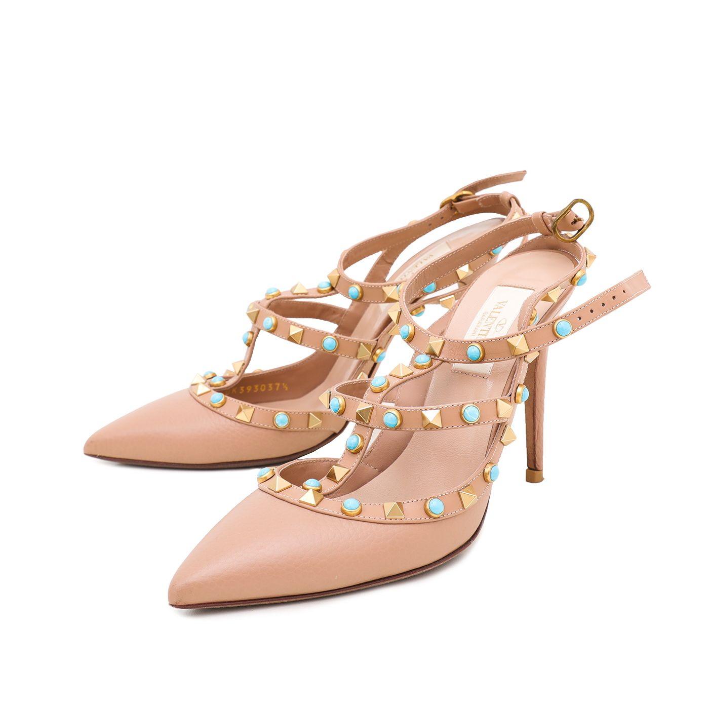 Valentino Nude Rockstud Rolling Ankle Strap Sandals 37.5