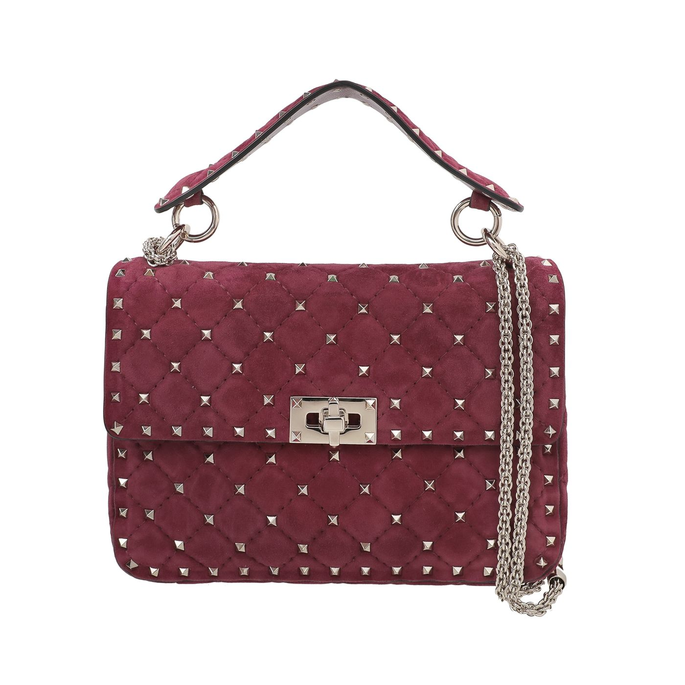 Valentino Light Maroon Suede Rockstud Spike Chain Bag
