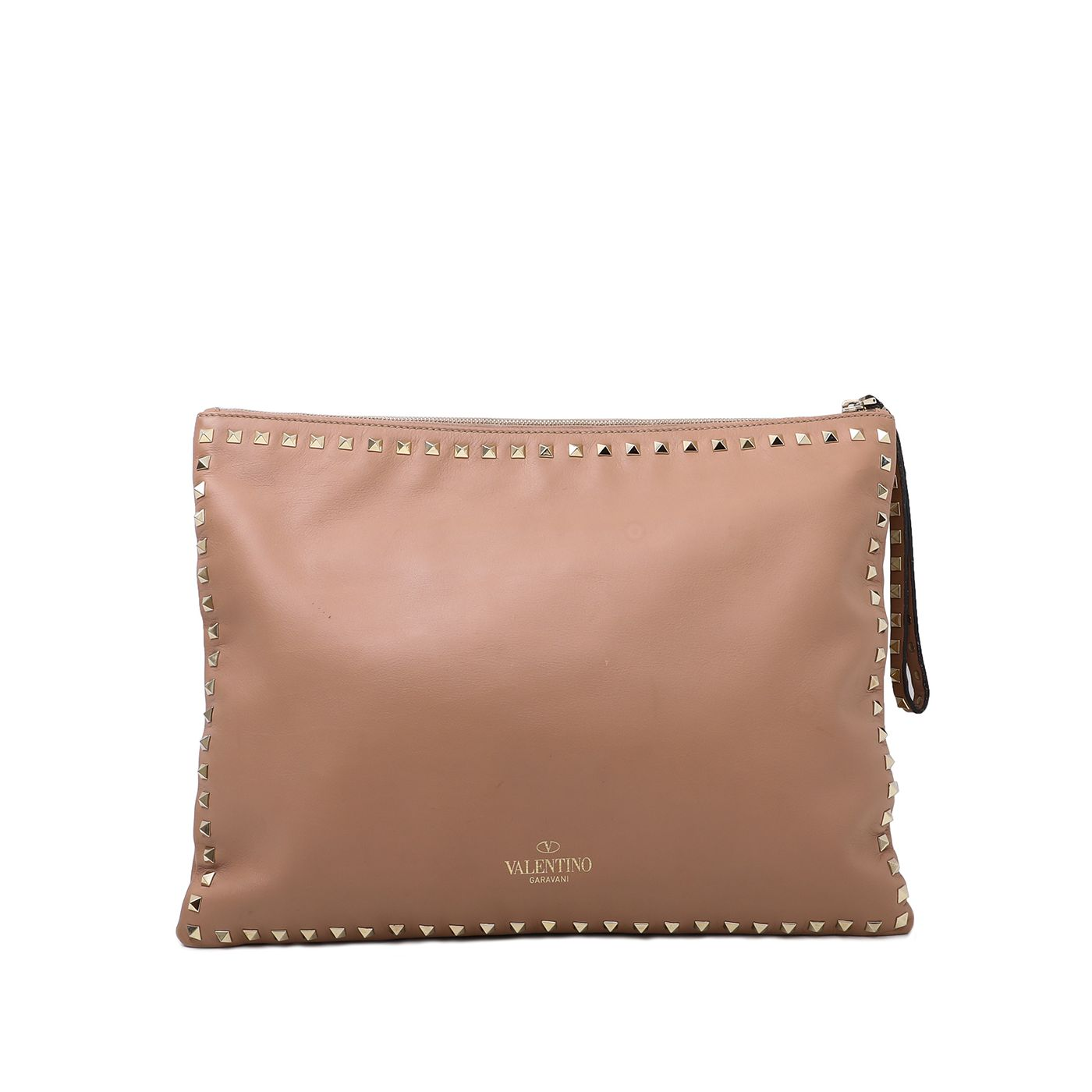 Valentino Nude Rockstud Zip Clutch Bag