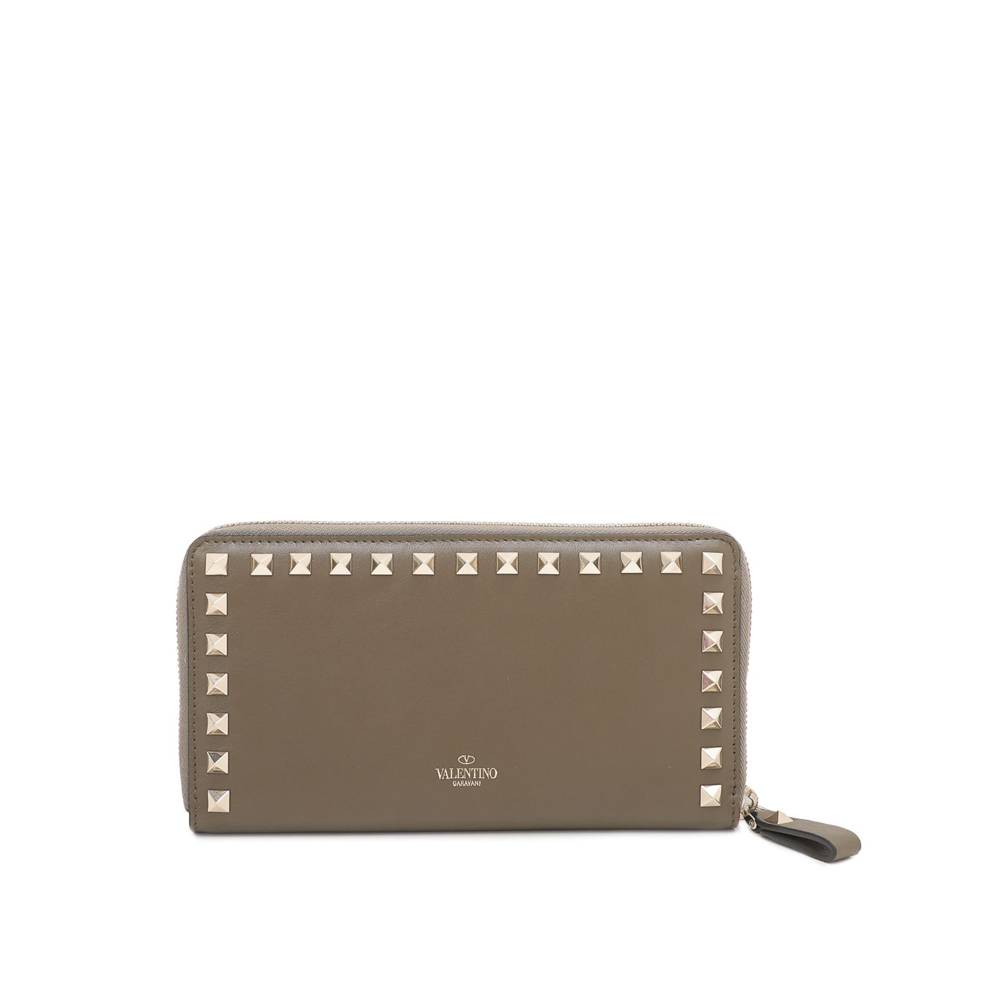 Valentino Olive Green Rockstud Zipped Continental Wallet