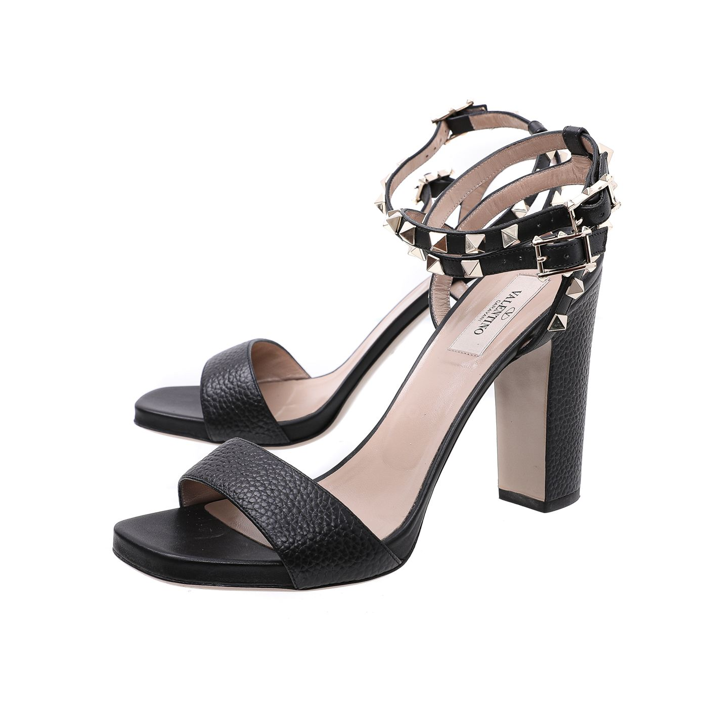 Valentino Black Rockstuds Double Ankle Strap Sandals 39