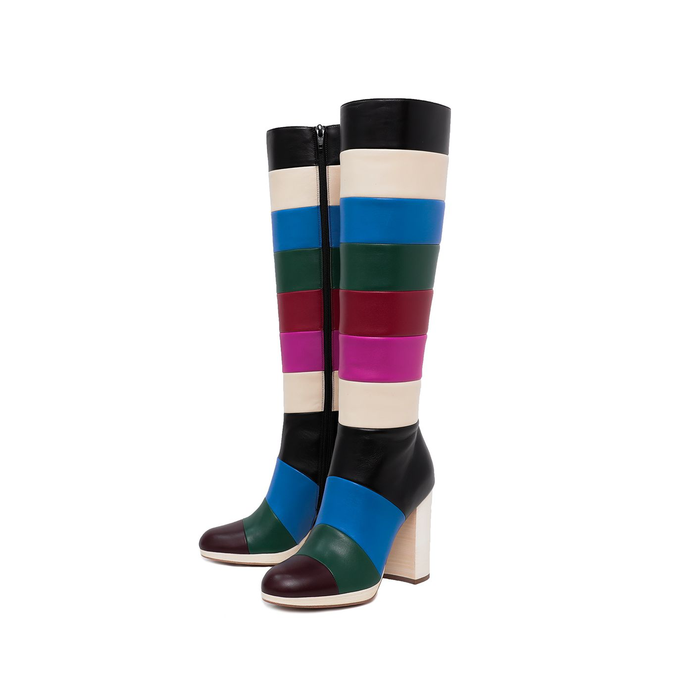 Valentino Multicolor Striped Knee High Boots 37