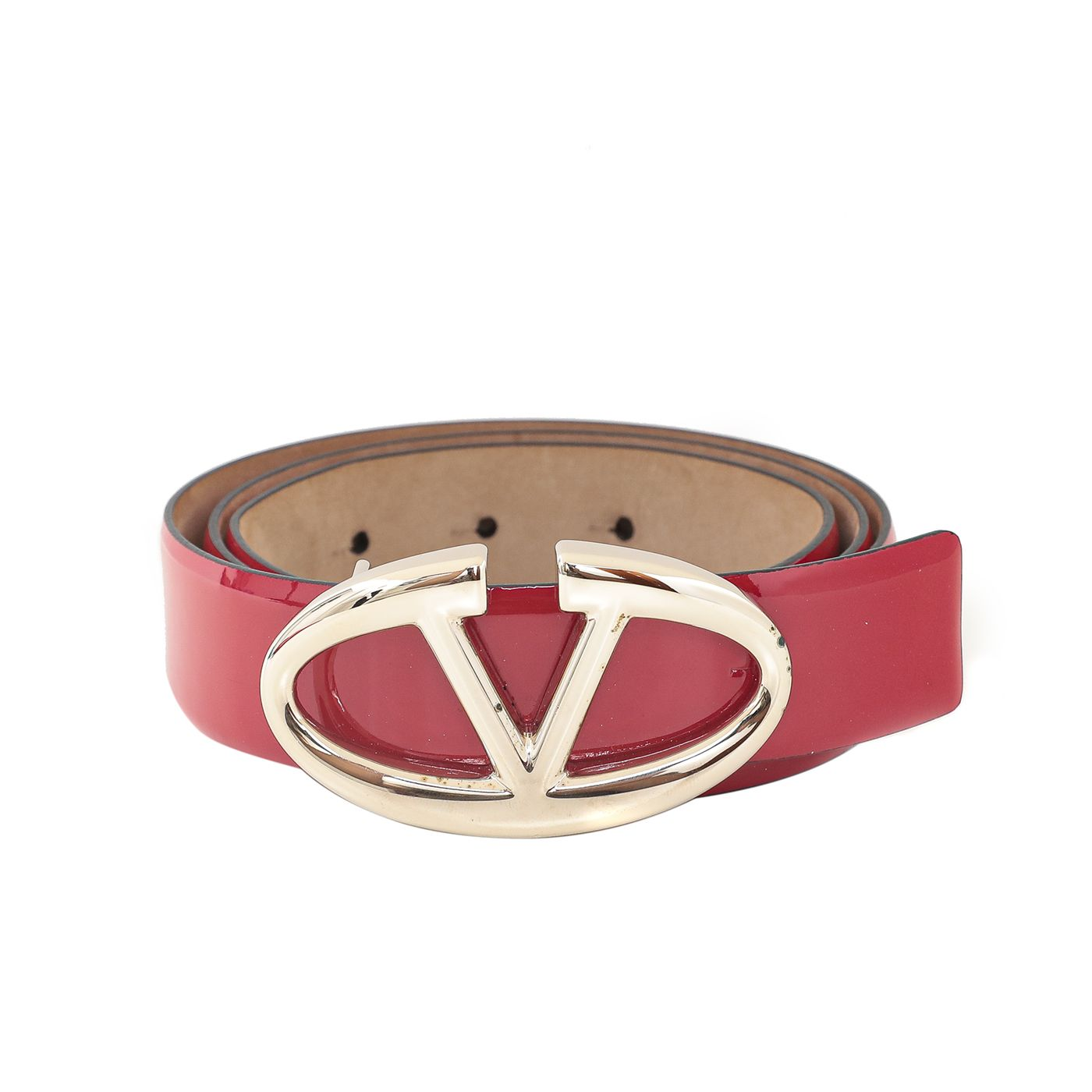 Valentino Red V Logo Adjustable Belt 36