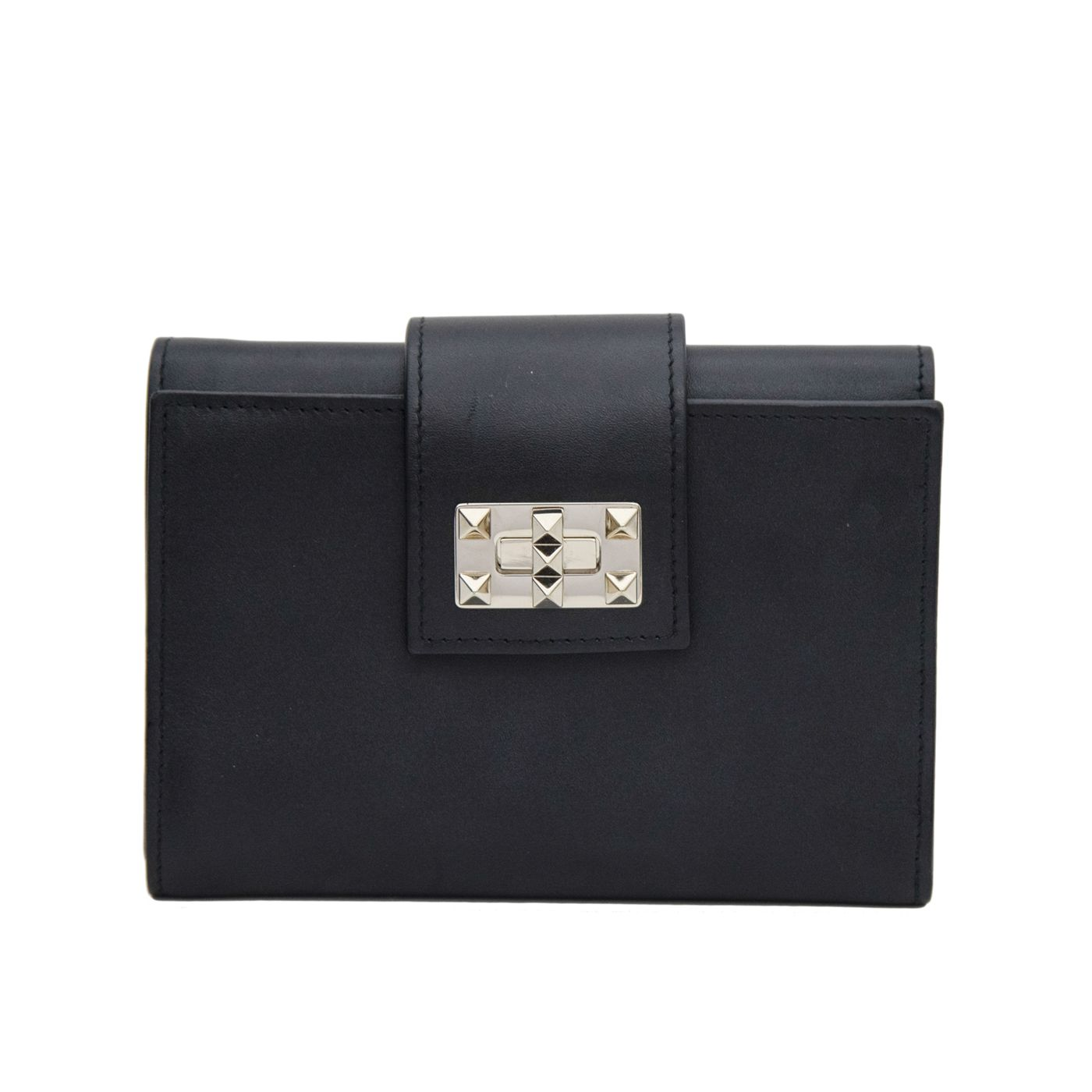 Valentino Black Vitello Rockstud Turn Lock Wallet