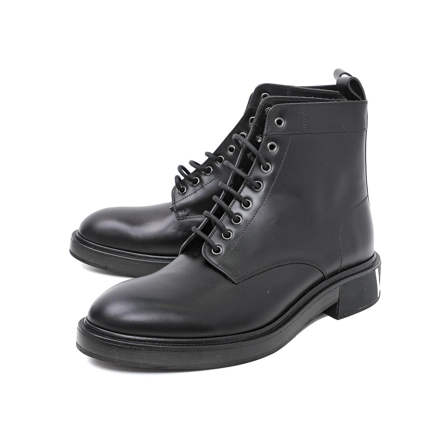 Valentino Black VLTN Brush-Off Combat Boots 44