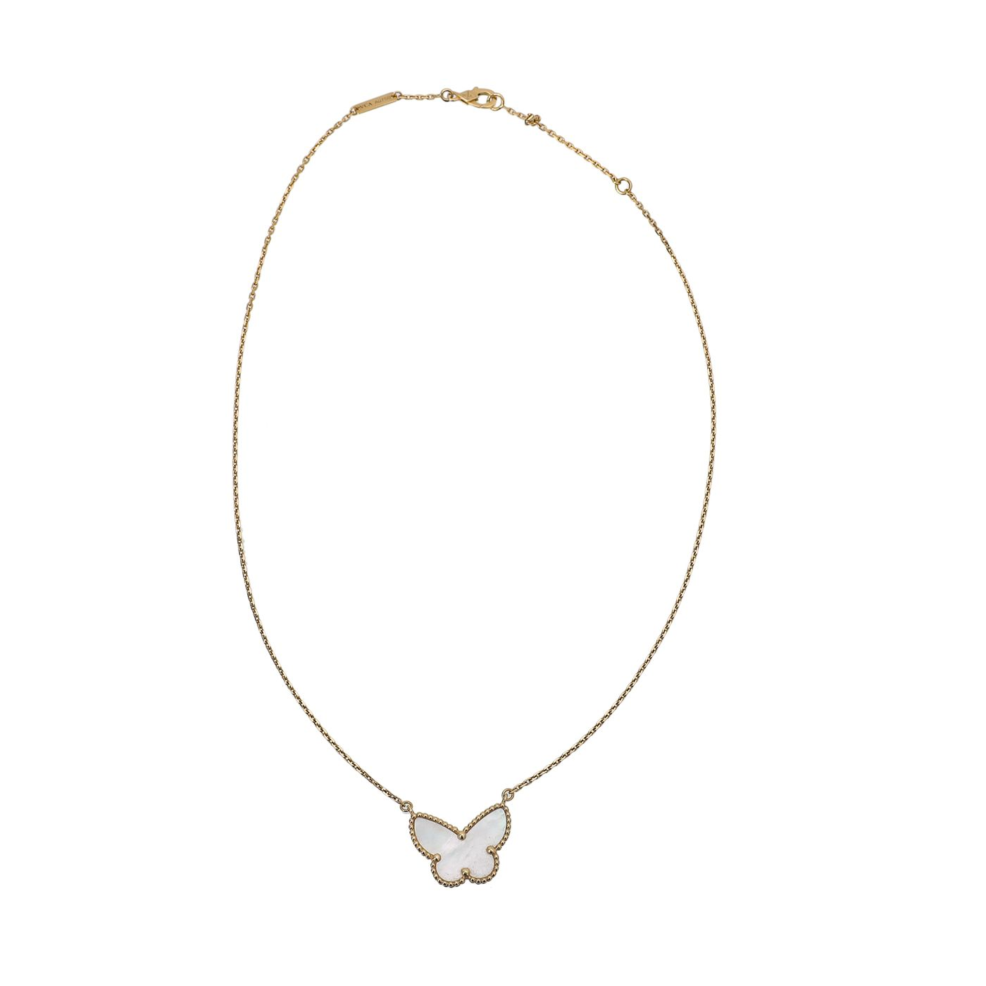 Van Cleef & Arpels 18K Yellow Gold MOP Lucky Alhambra Butterfly Pendant Necklace