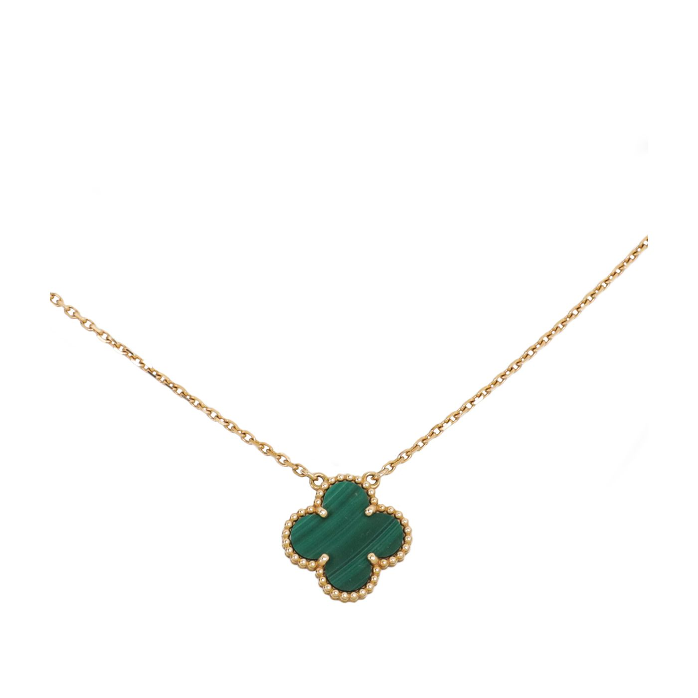 Van Cleef & Arpels 18K Yellow Gold Malachite vintage Alhambra Necklace