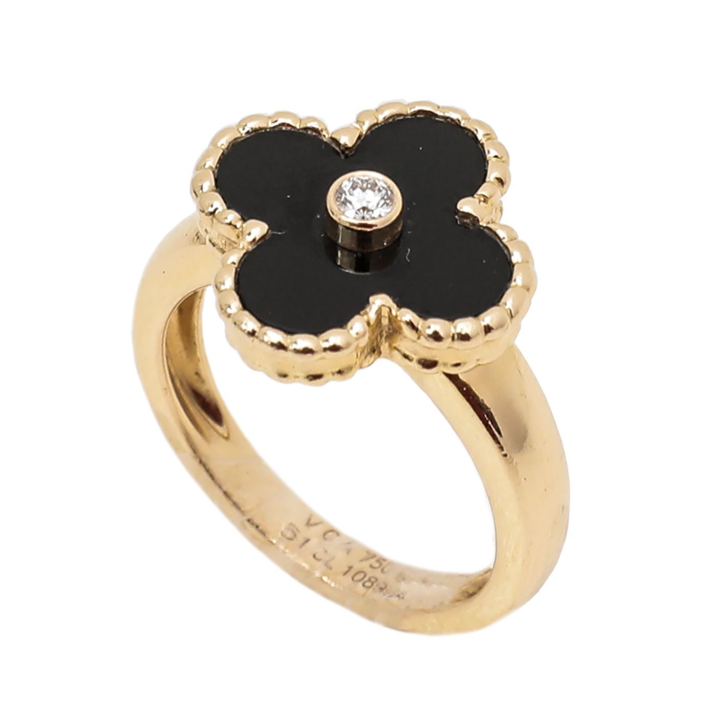 Van Cleef & Arpels 18K Yellow Gold Vintage Alhambra Onyx Diamond Ring 51