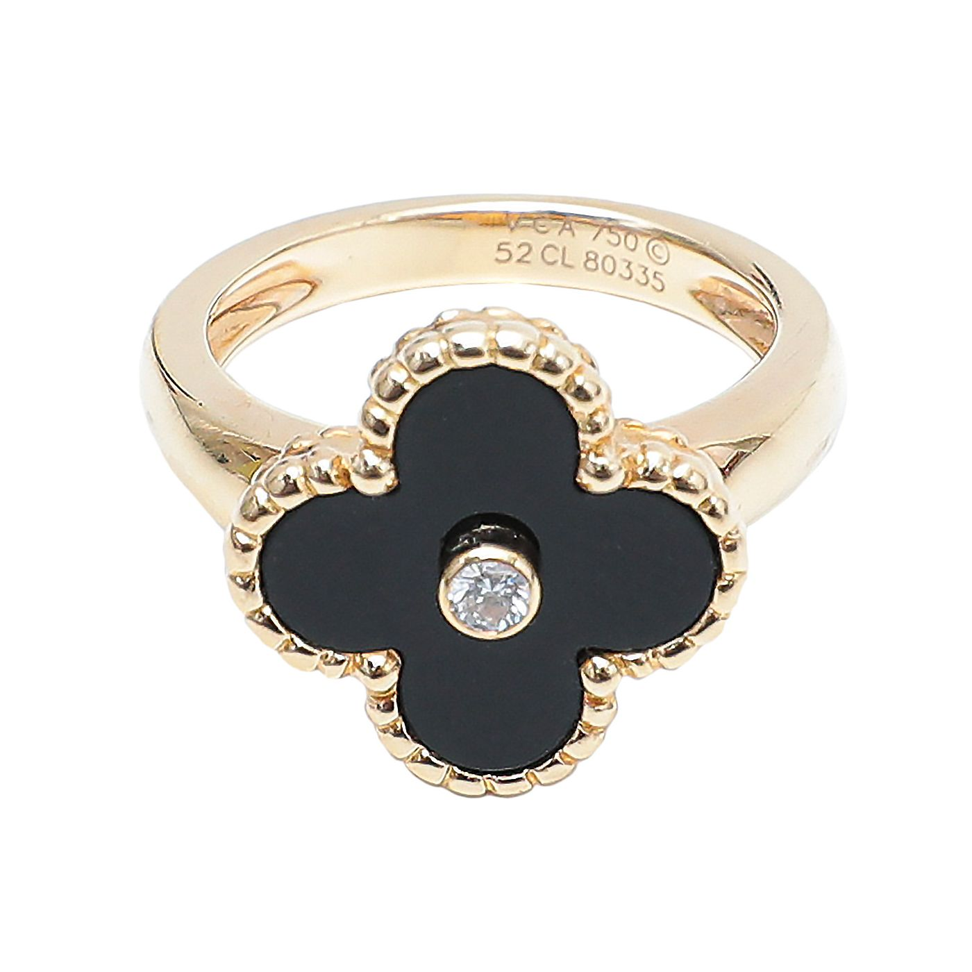 Van Cleef & Arpels 18K Yellow Gold with Onyx Diamond Ring 52
