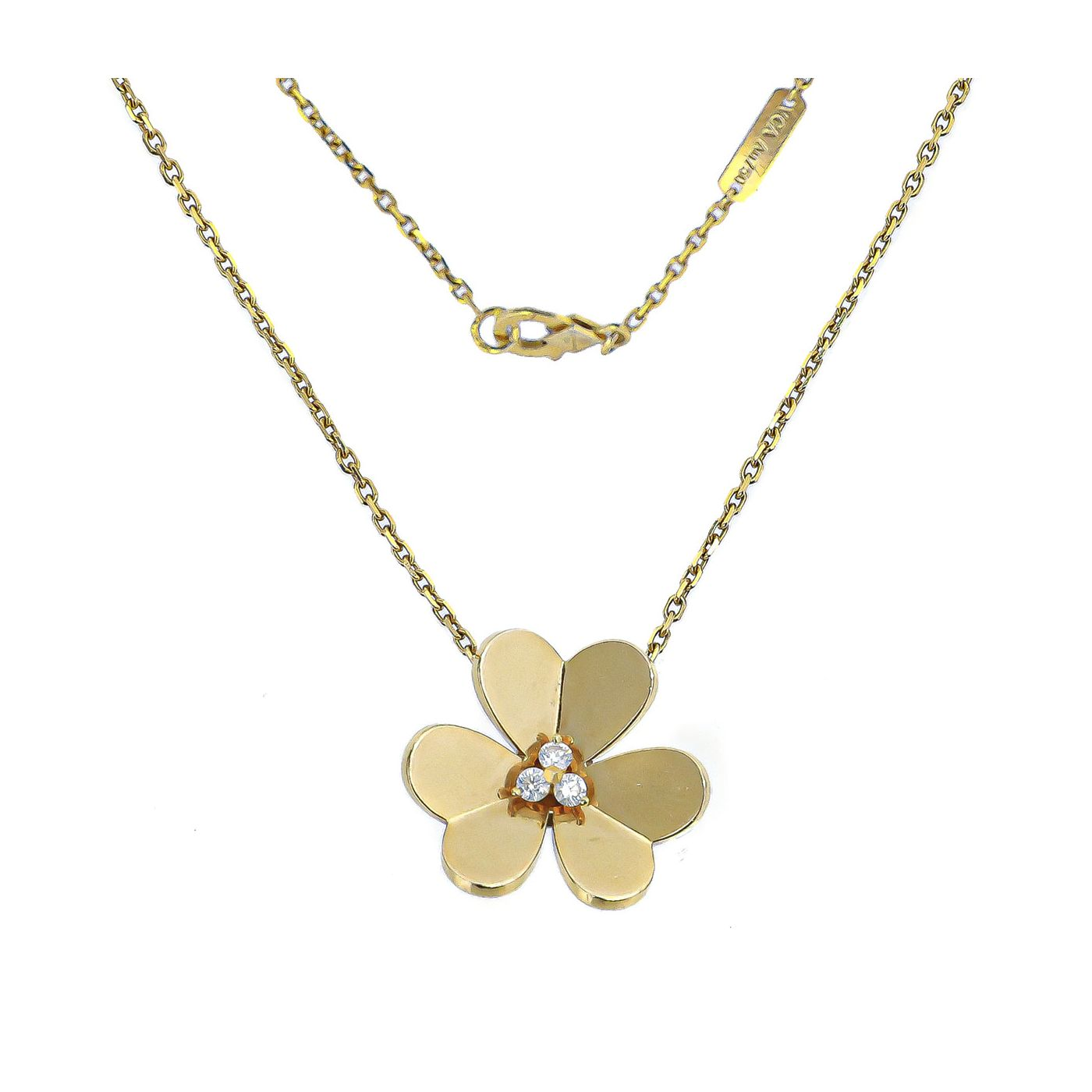 Van cleef & Arpels Yellow Gold Diamond Frivole Pendant Necklace