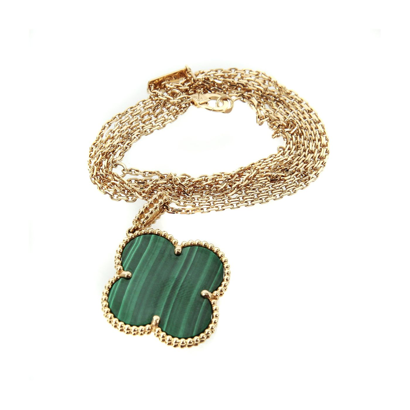 Van Cleef and Arpels Magic Alhambra 18k Yellow Gold Malachite Long Necklace