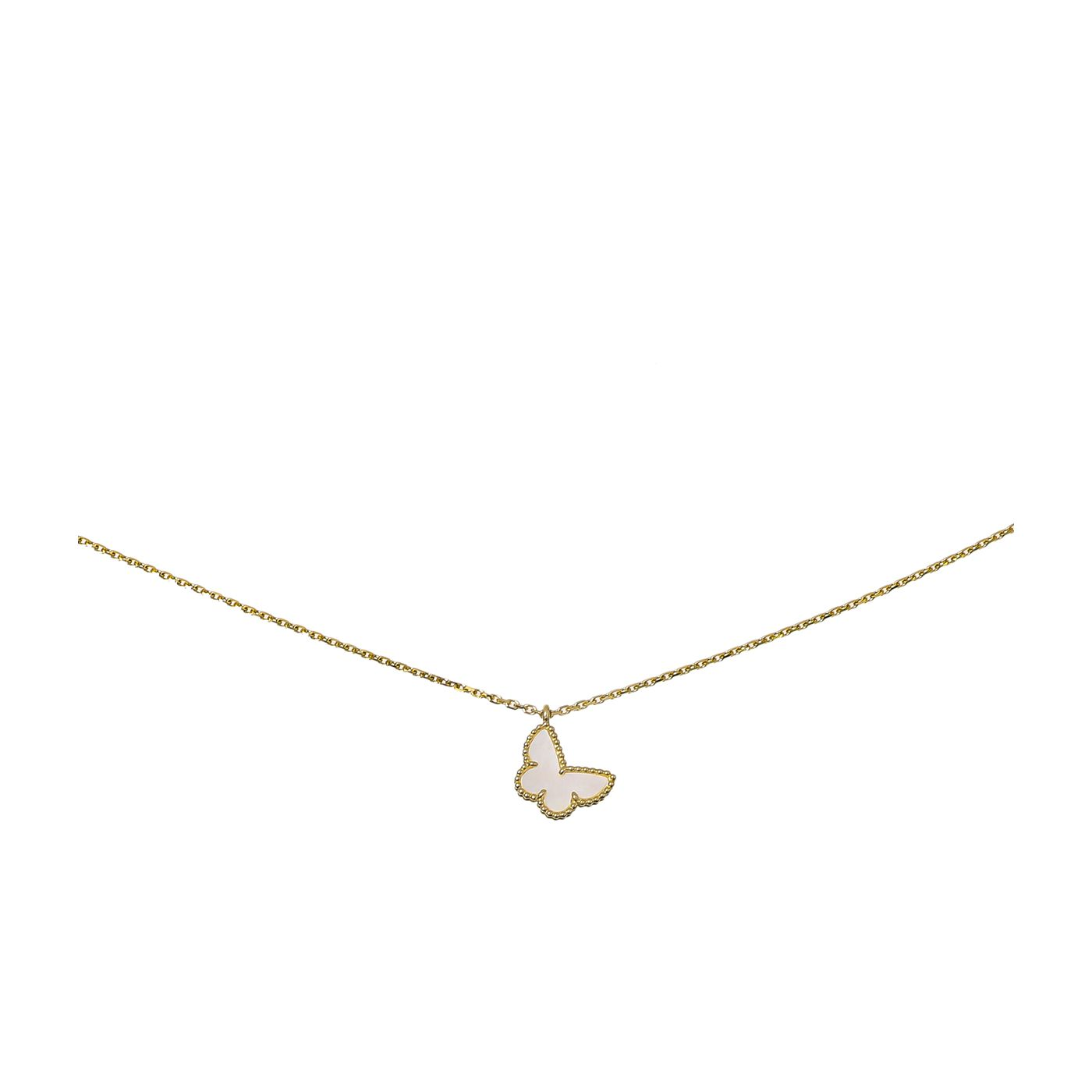 Van Cleef & Arpels 18K Yellow Gold Sweet Alhambra Butterfly Pendant Necklace