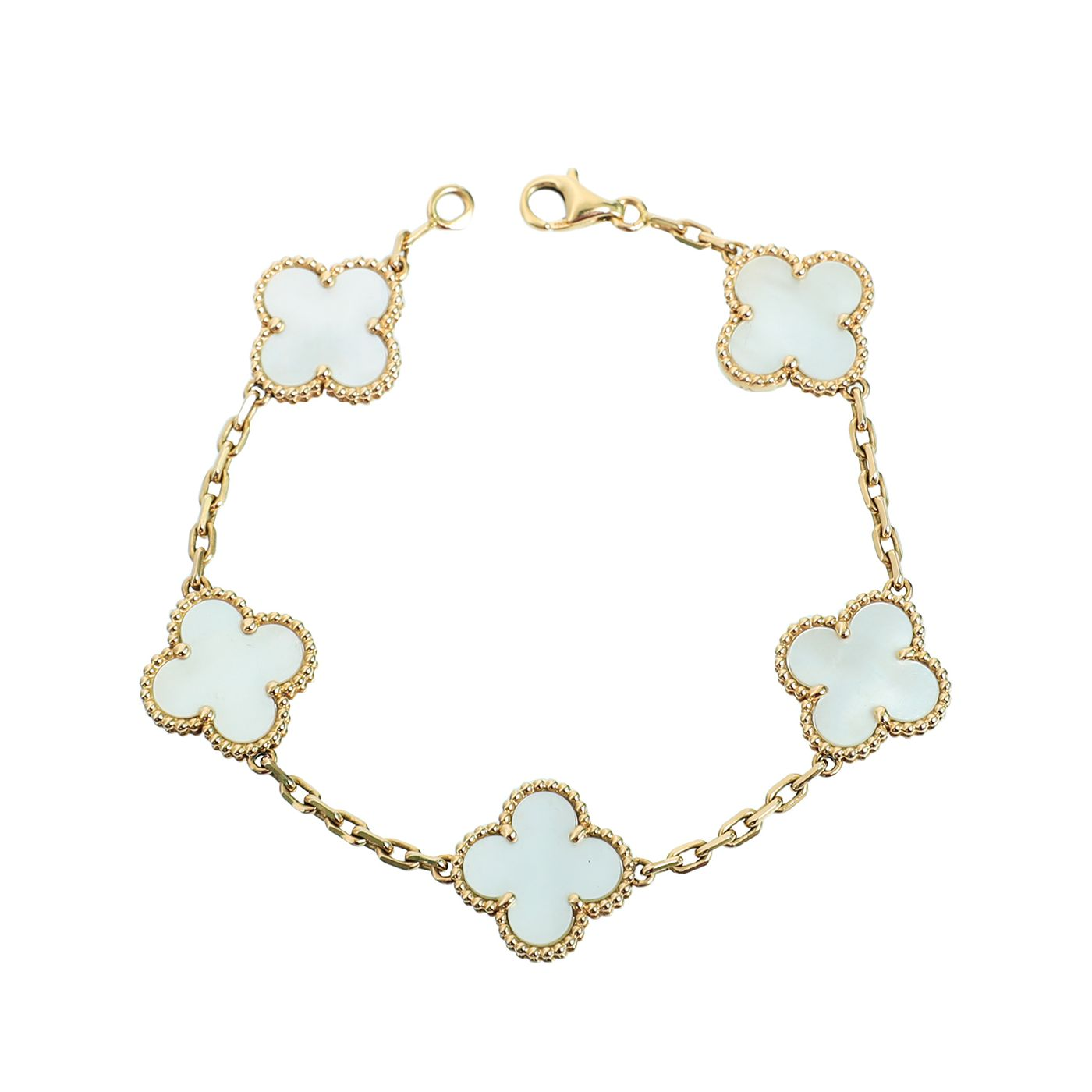 Van Cleef & Arpels 18K Yellow Gold Mother of Pearl Vintage Alhambra Bracelet