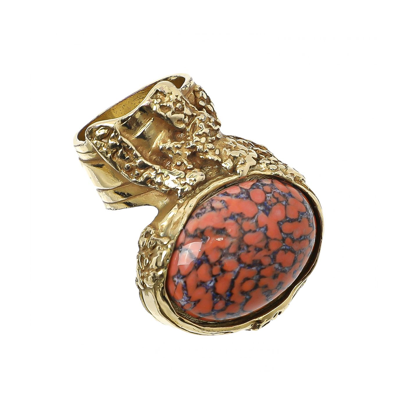 YSL Orange Coral Marble Arty Ring 7