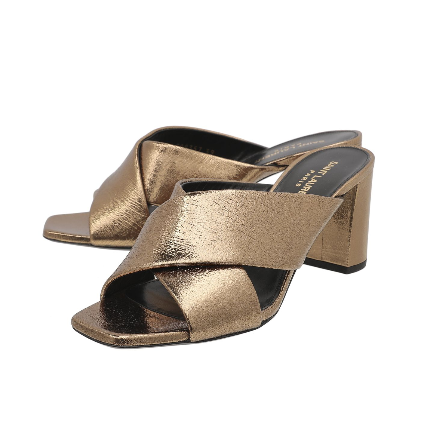 YSL Metallic Bronze Loulou Crossover Sandals 39