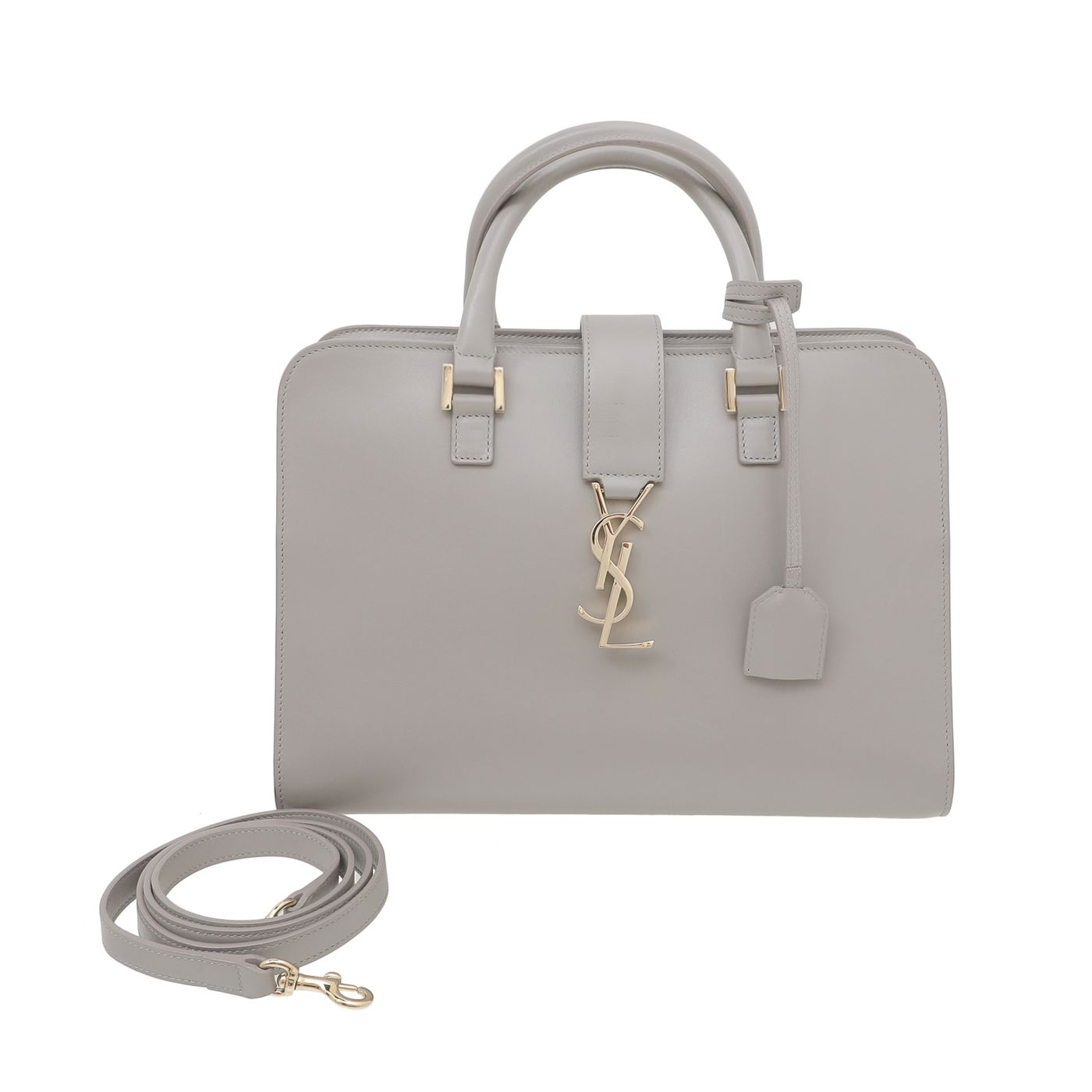 YSL Gray Cabas Monogram Tote Bag