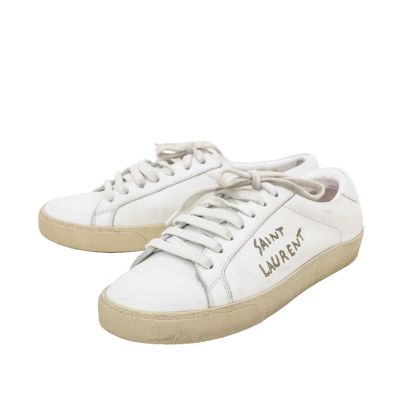 YSL White Court Classic Embroidered Logo Sneakers 38