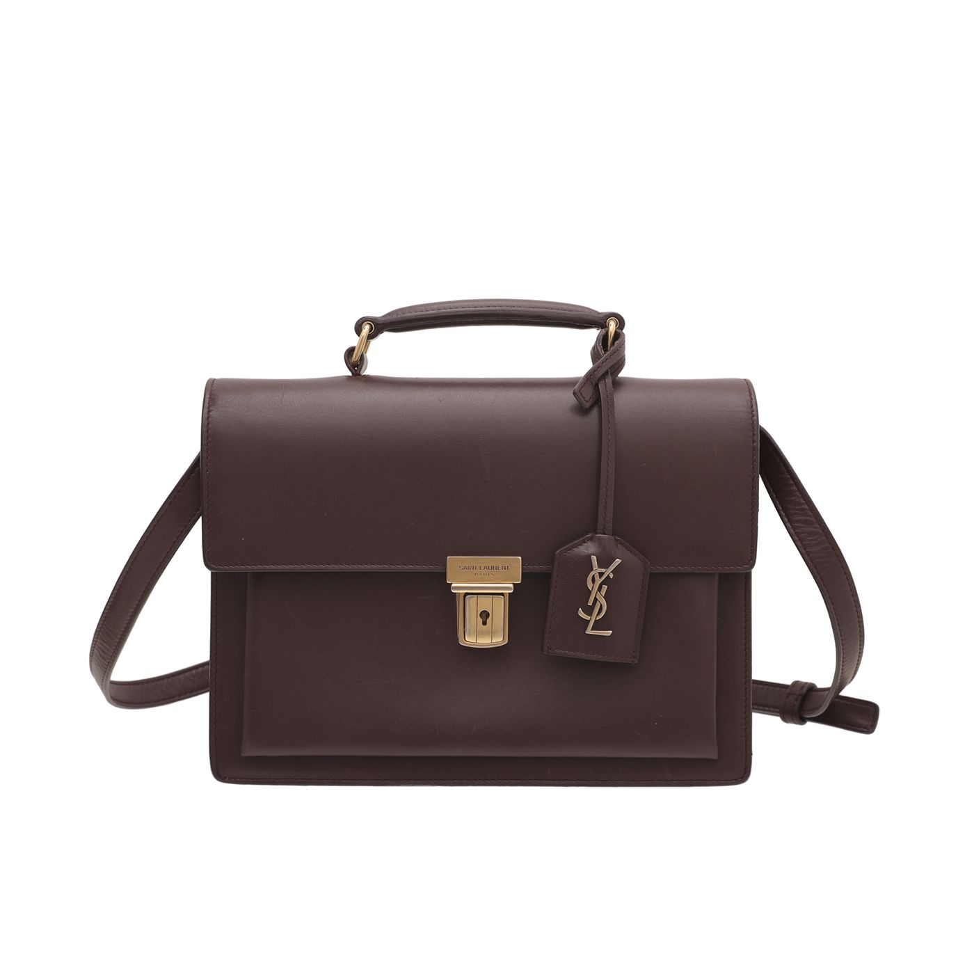 YSL Burgundy High School Satchel Medium Bag