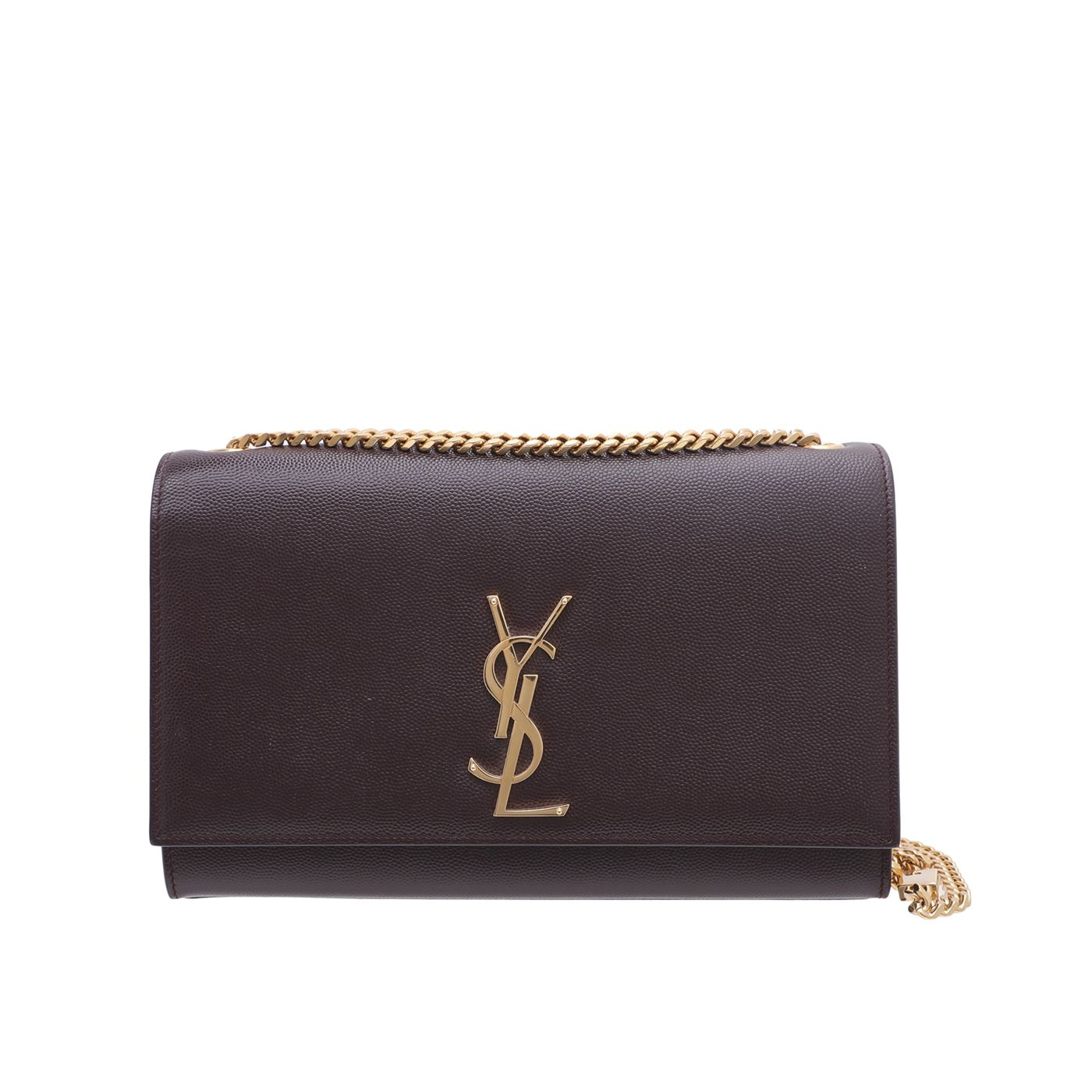 YSL Burgundy Kate Grain De Poudre Bag