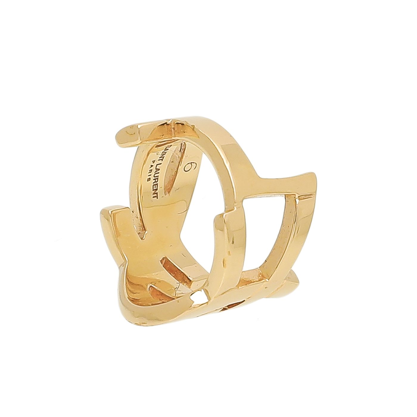 YSL Gold Plated Logo Ring 6