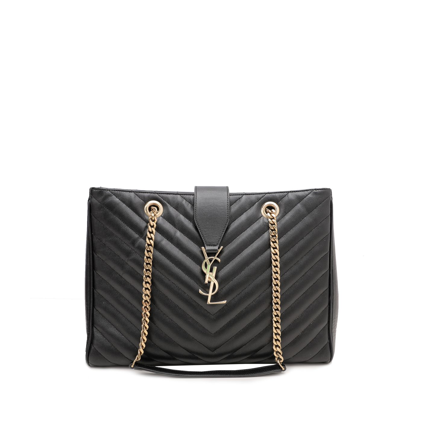 YSl Black Monogram Shopping Bag