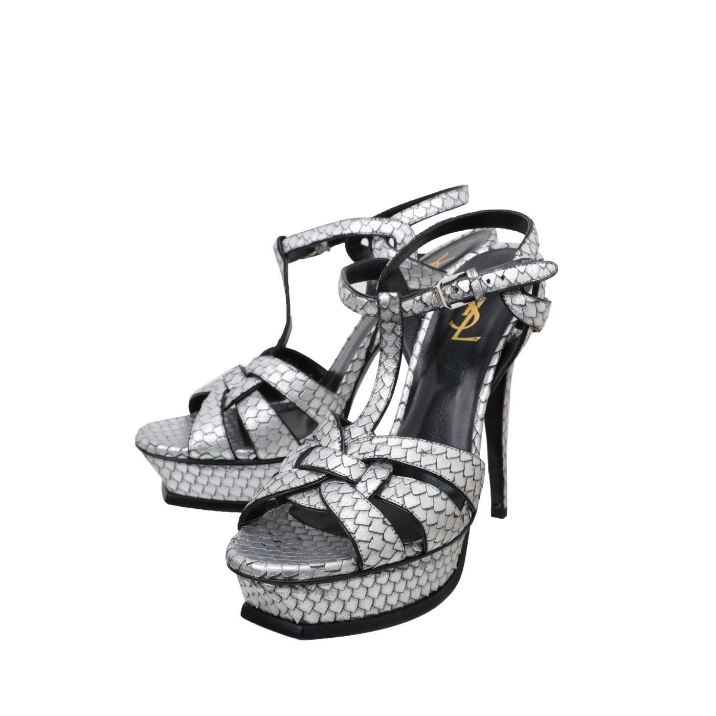 YSL Silver Python Stamped Tribute High Heels Sandals 39.5