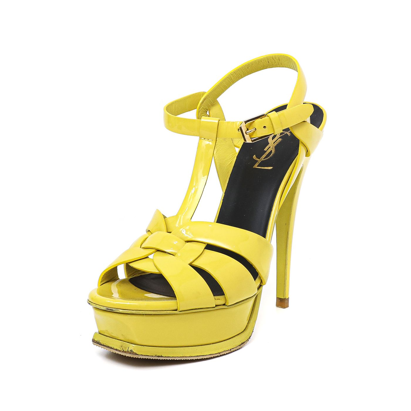 YSL Yellow Tribute Sandals 37.5