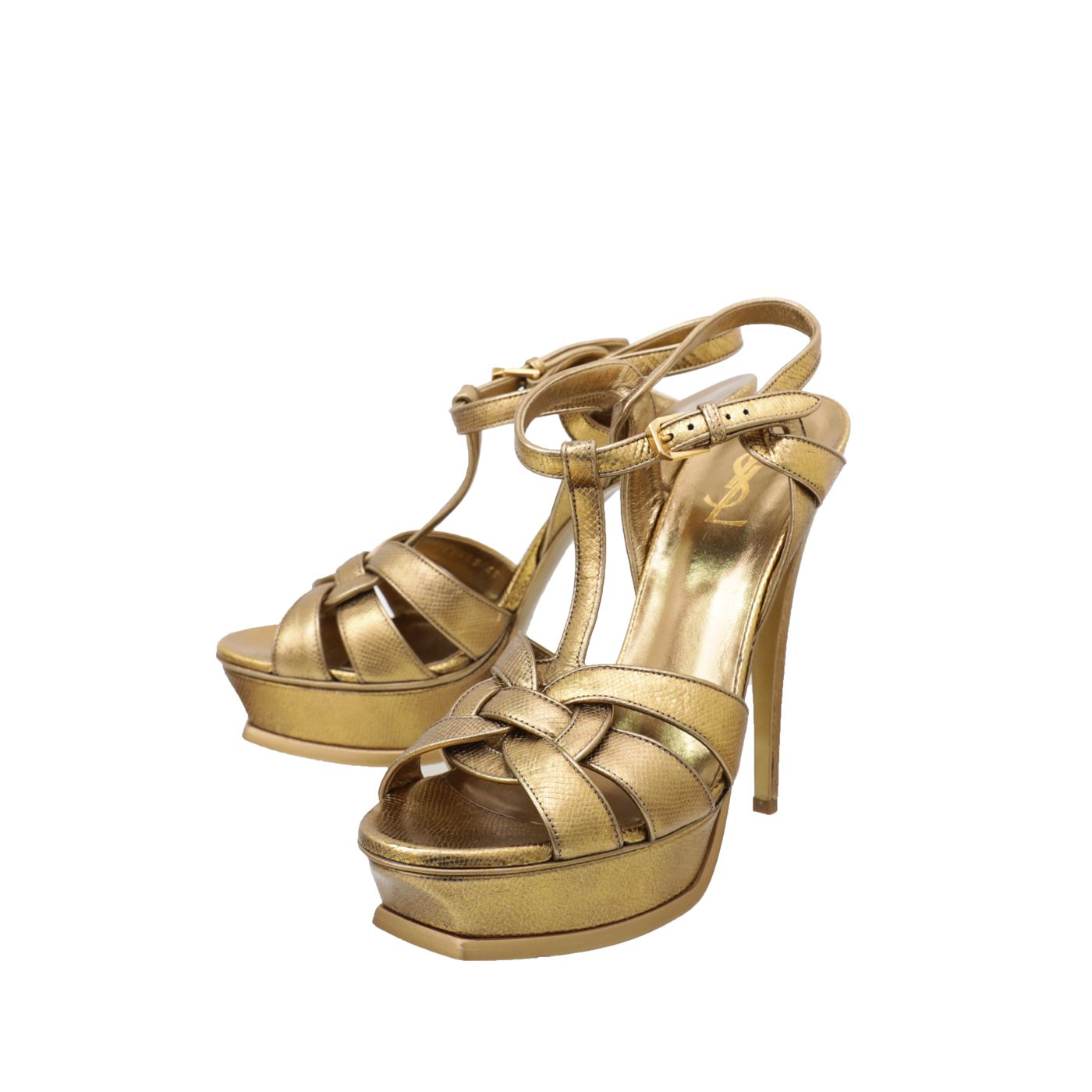 YSL Metallic Gold Tribute High Heeled Sandals 40