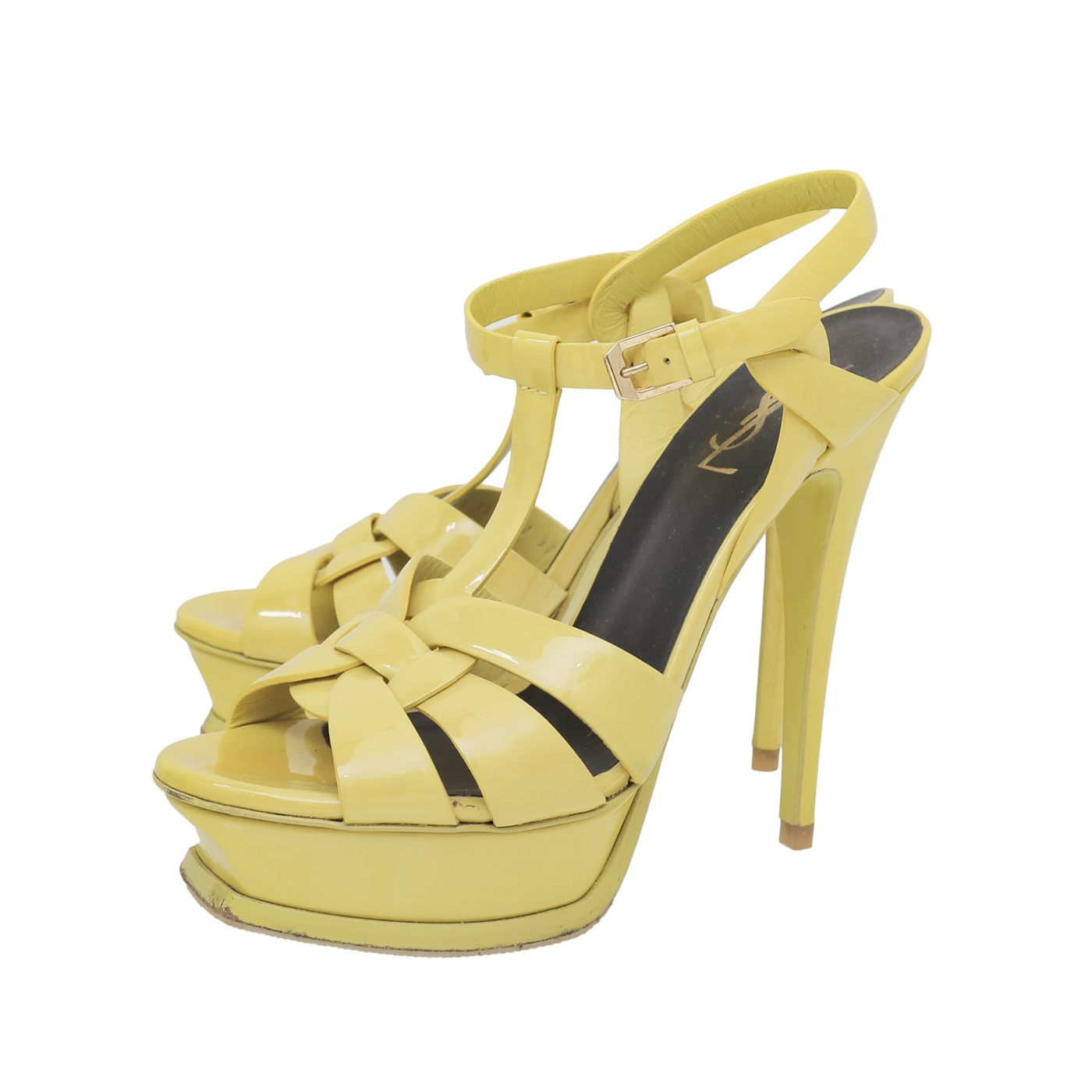 YSL Yellow Tribute High Heeled Sandals 37.5