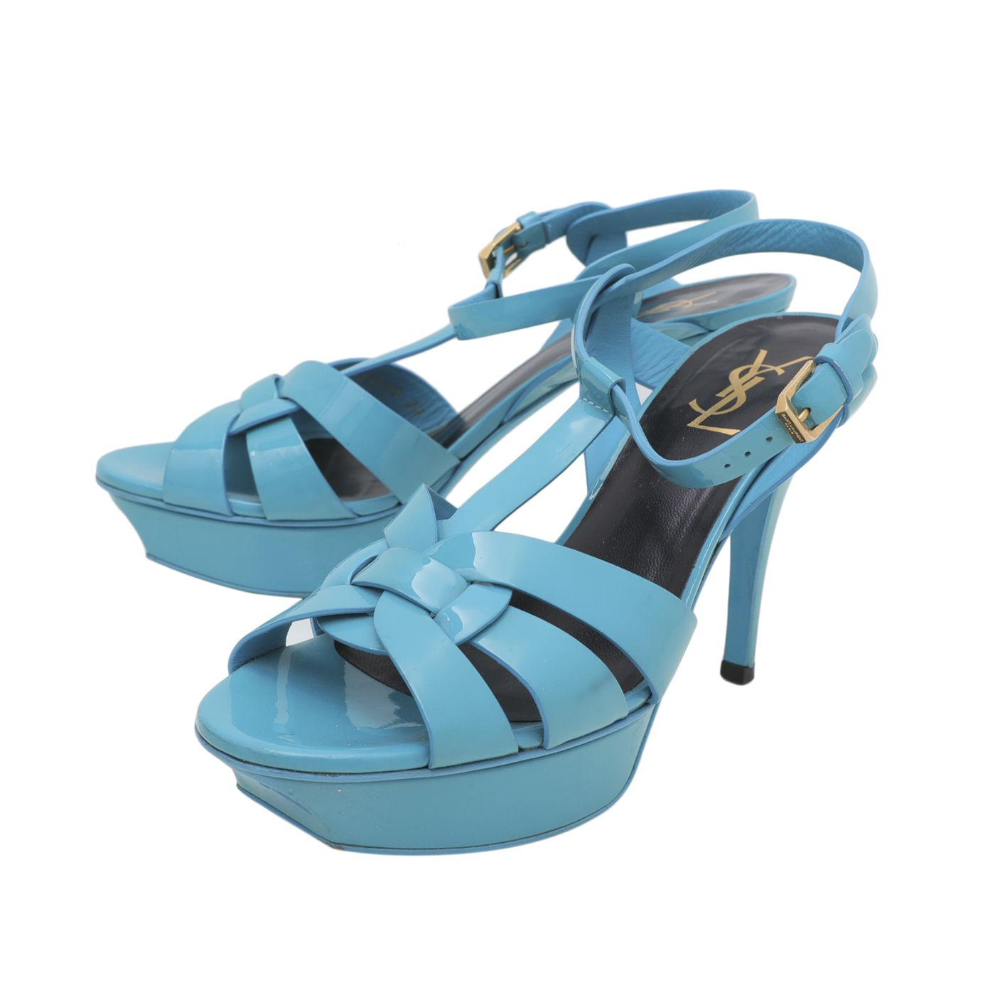 YSL Turquoise Tribute Mid Heels Sandals 39