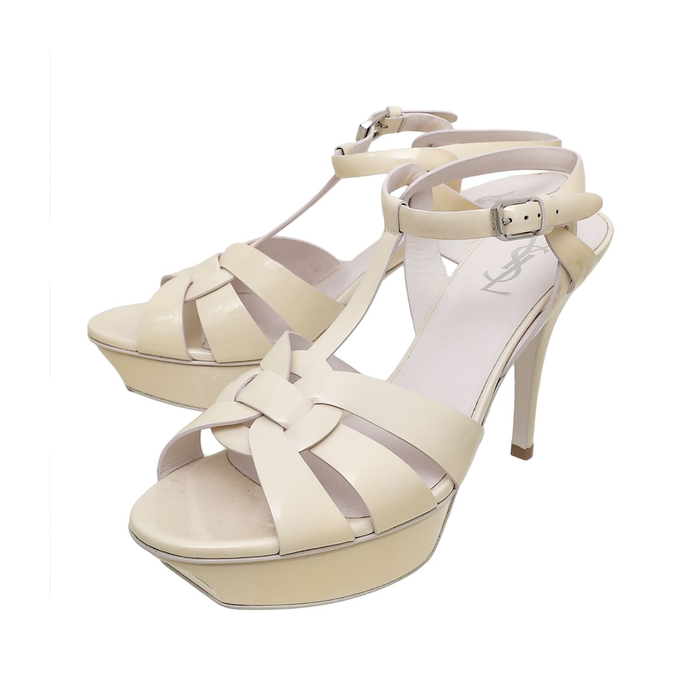 YSL Pale Yellow Tribute Sandals 40