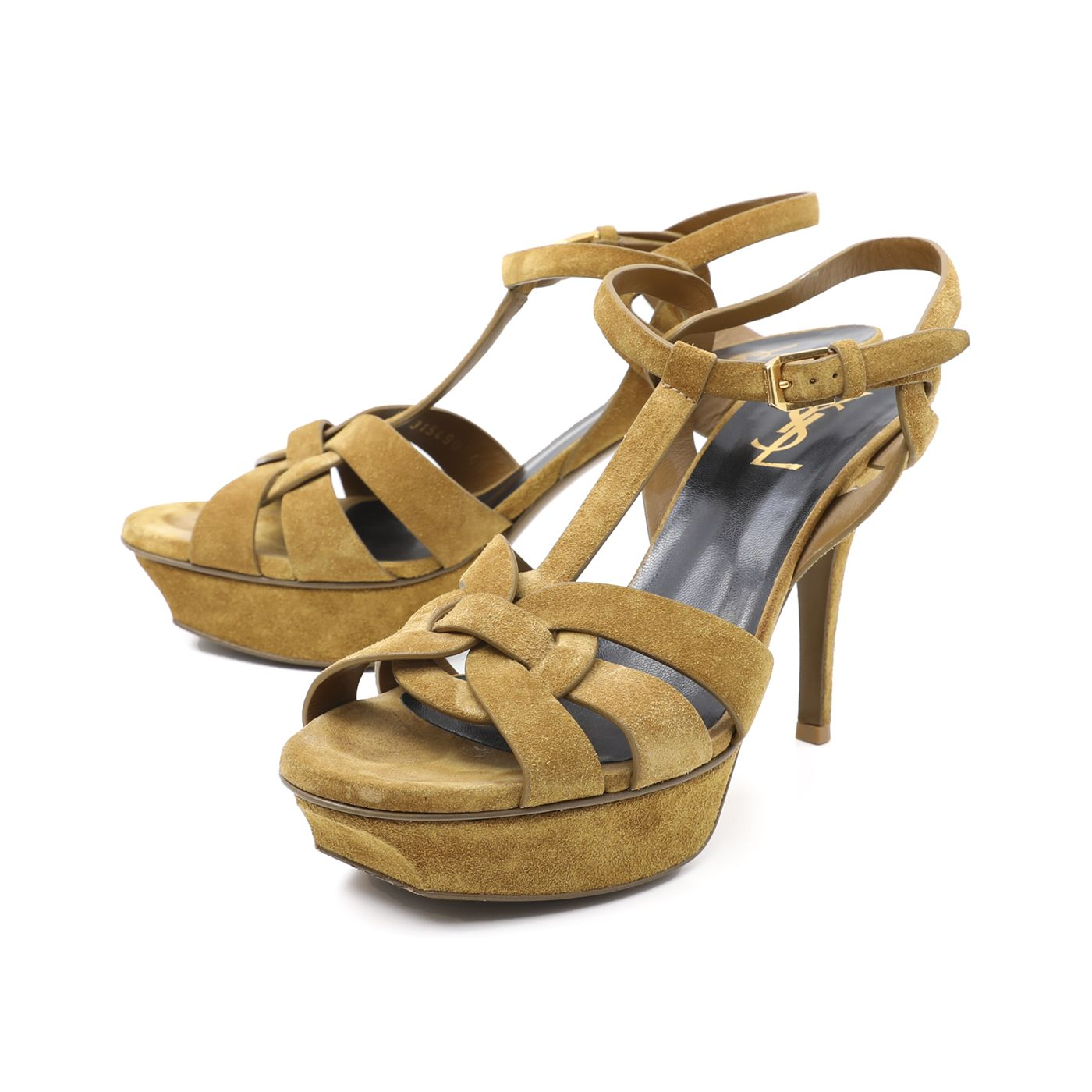 YSL Tan Suede Tribute Sandals 40